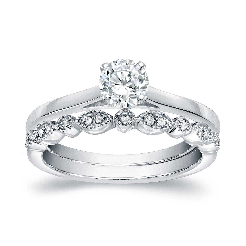 auriya 14karat gold 1 2ct tdw vintage inspired diamond solitaire