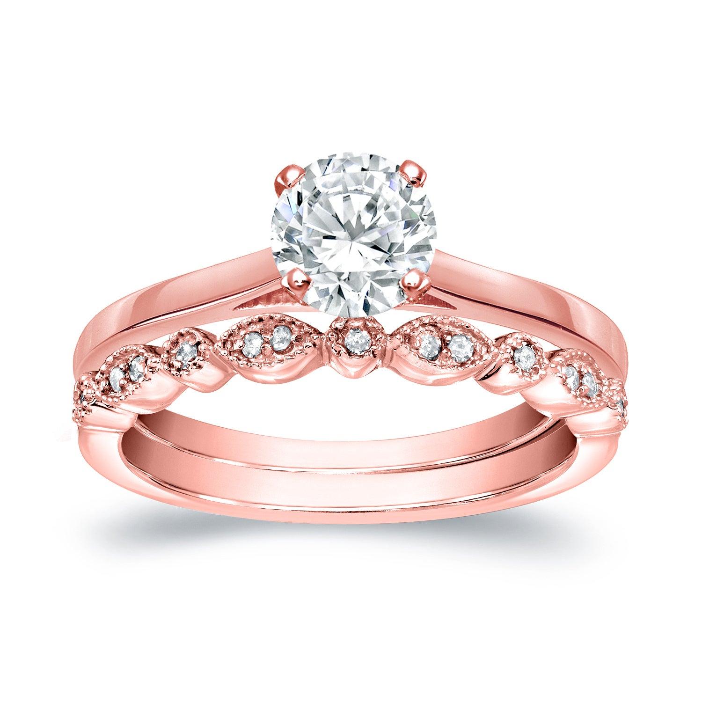 Auriya 14k Gold 7/8ct TDW Diamond Vintage Style Wedding Ring Sets ...