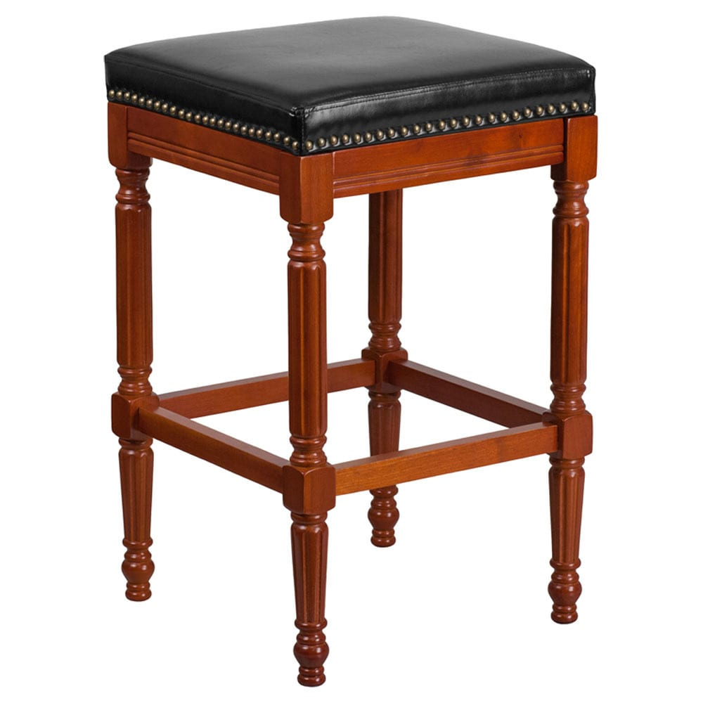 Offex Light Cherry Wood 30 Inch High Backless Barstool With Black