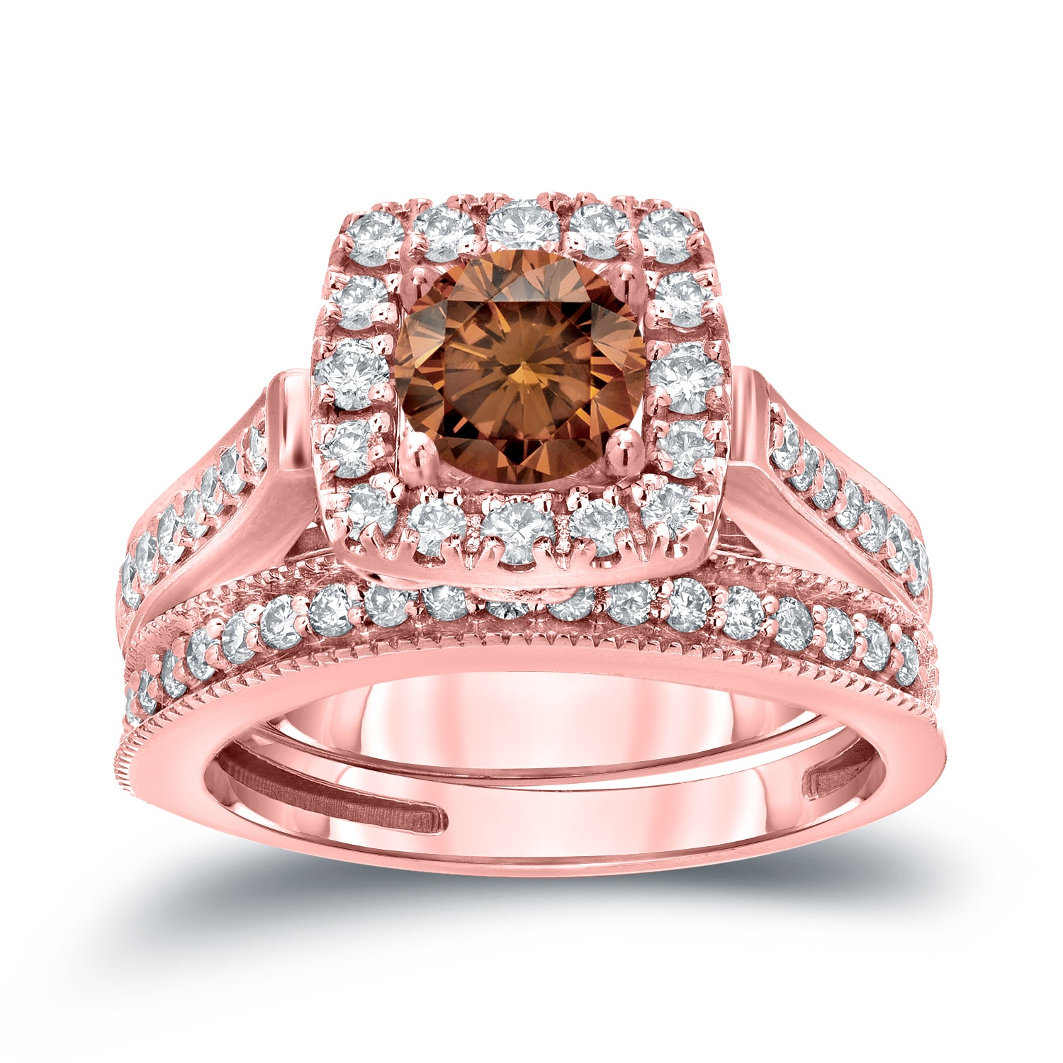 Auriya 14k 1ct TDW Vintage Inspired Brown Diamond Halo Engagement ...