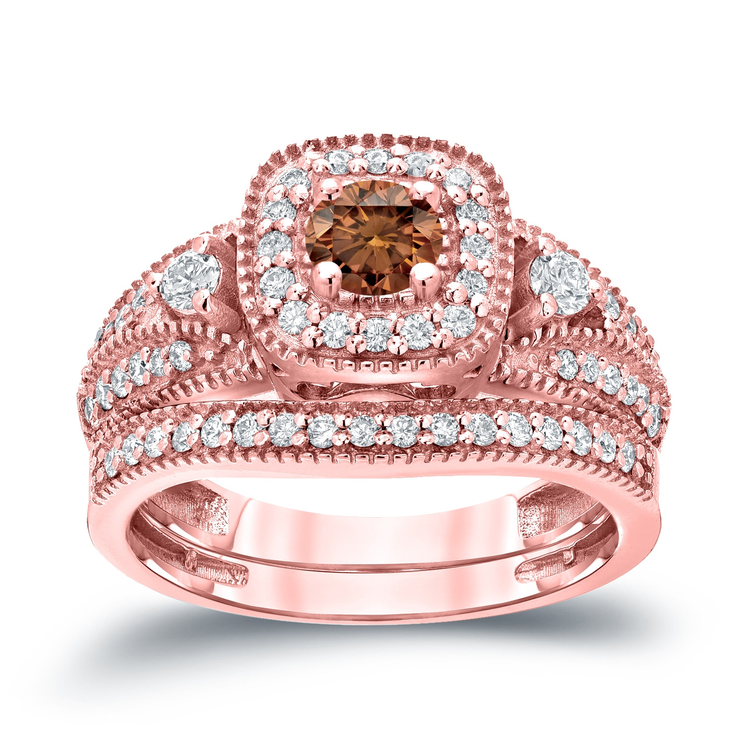 Auriya 14k 3/4ct TDW Vintage Brown Diamond Halo Engagement Ring ...