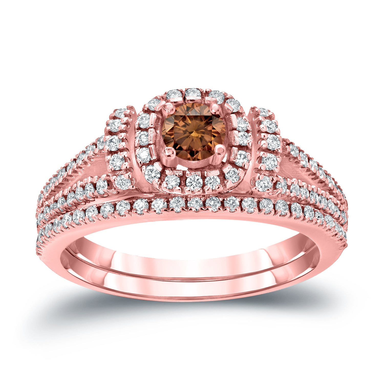 Auriya 14k 3/4ct TDW Brown Diamond Halo Wedding Ring Set - Free ...