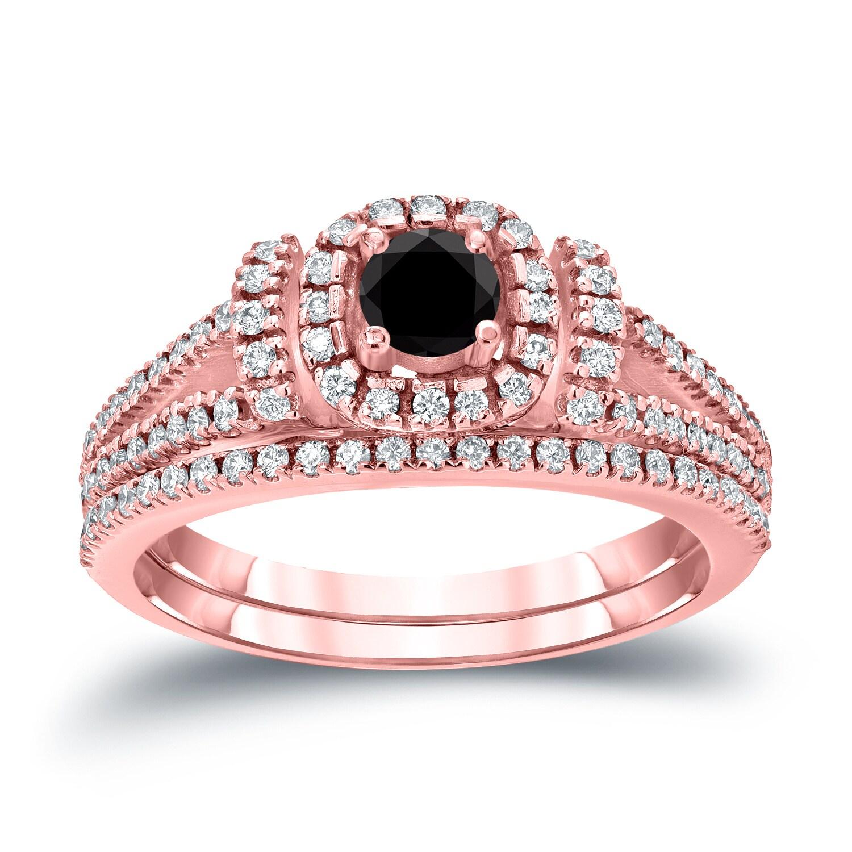Auriya 14k 3/4ct TDW Halo Black Diamond Wedding Ring Sets (H-I, I1 ...