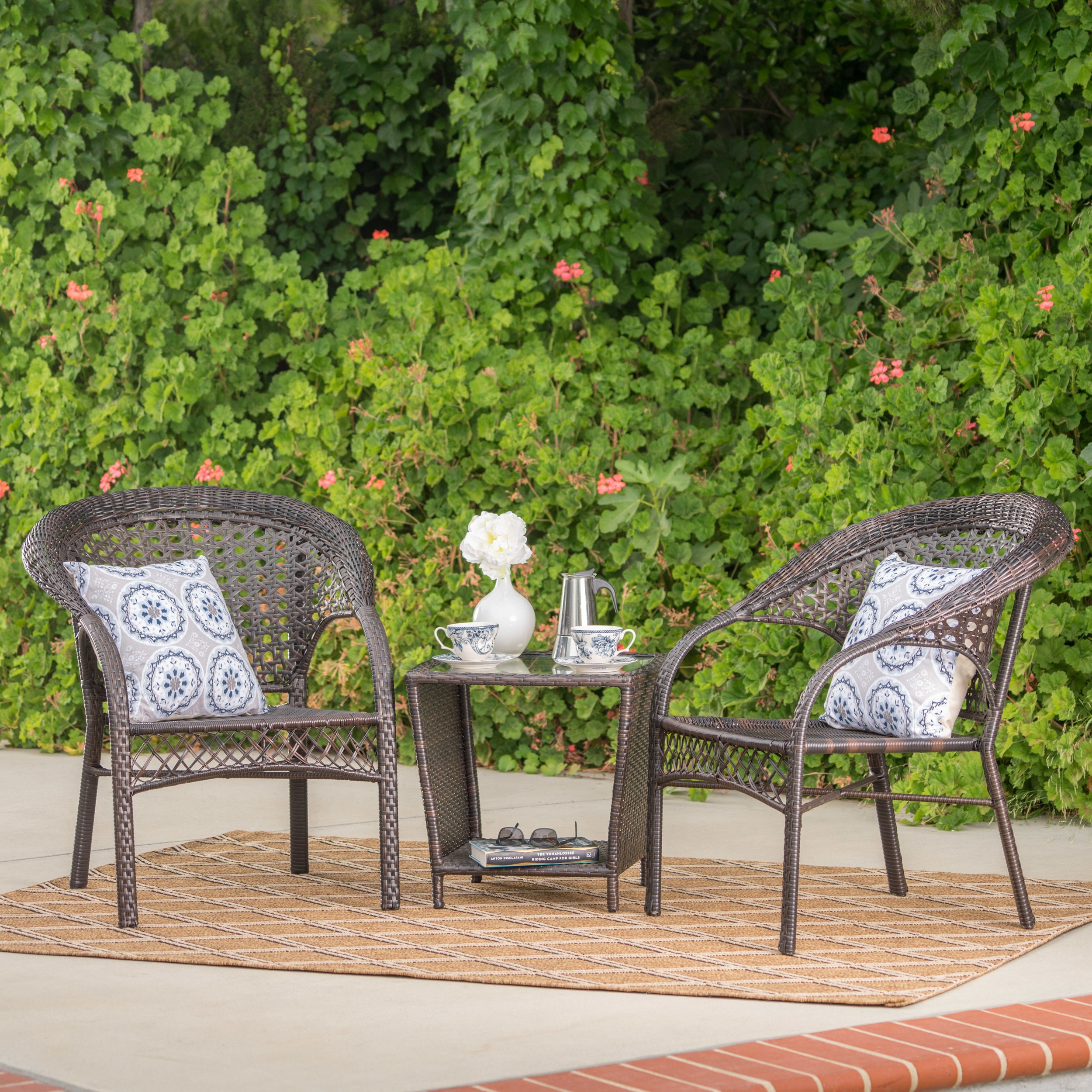 Hamilton outdoor 3 piece wicker stacking chair chat set by christopher knight home