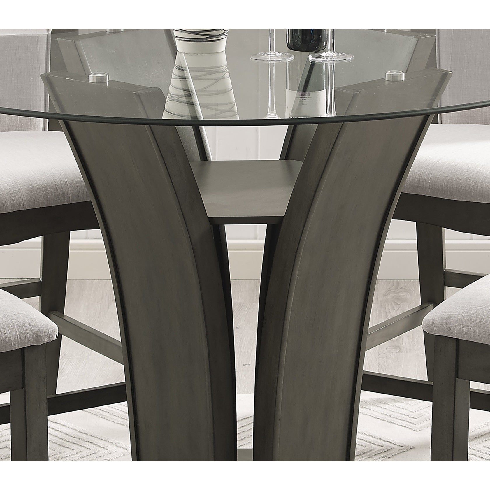 High Quality Kecco Grey 5 Piece Glass Top Dining Set, Table With 4 Chairs   Free  Shipping Today   Overstock.com   23004165