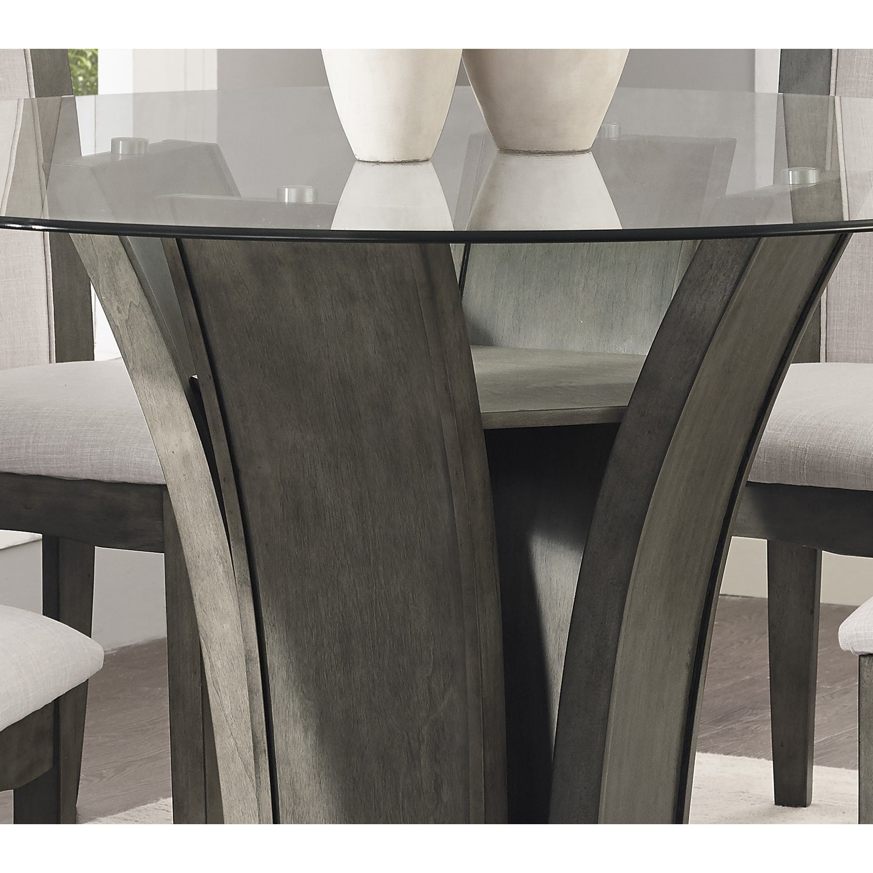 Shop Kecco Gray 5 Piece Round Glass Top Counter Height Dining Set   Free  Shipping Today   Overstock.com   16685521