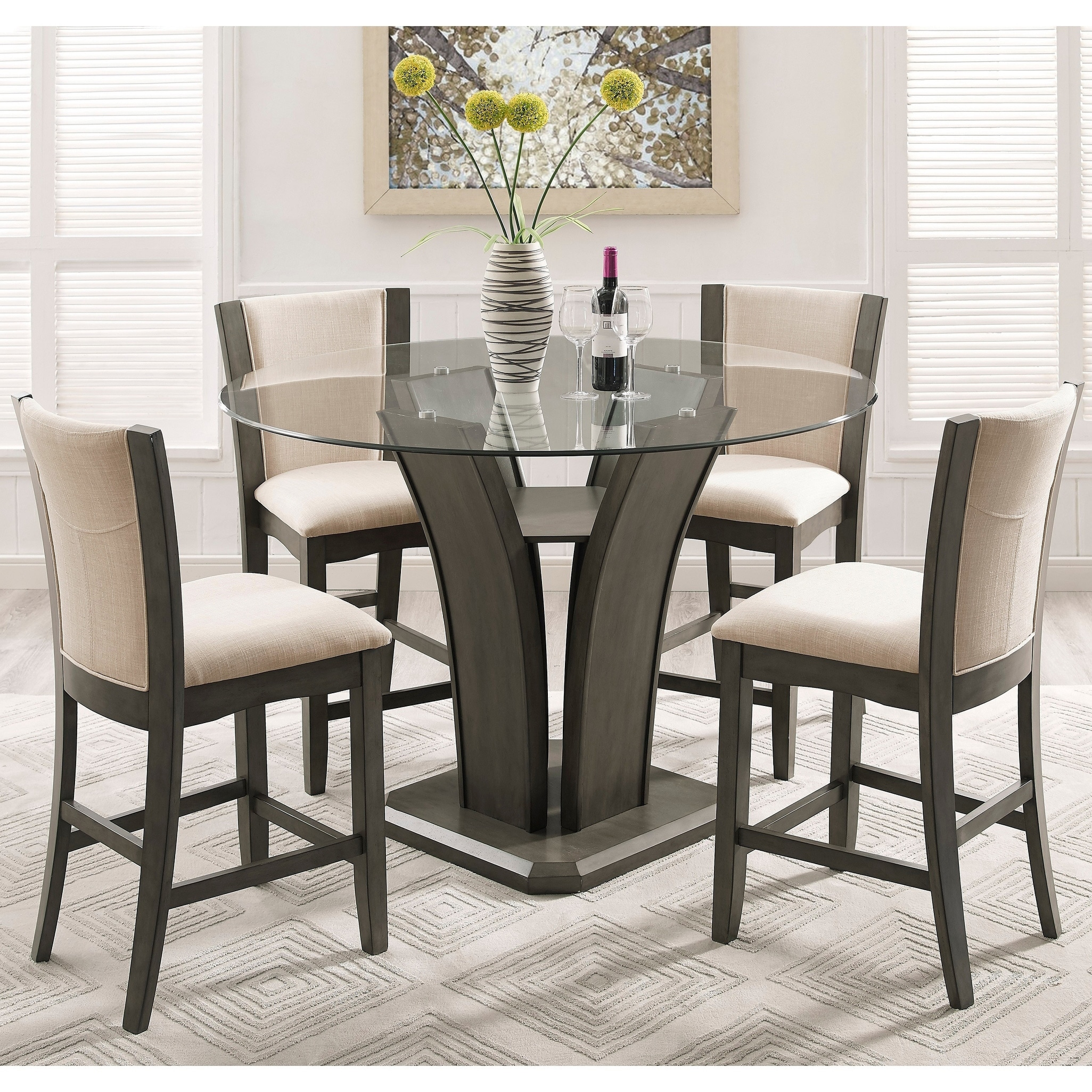 Picture of: Shop Kecco Gray 5 Piece Round Glass Top Counter Height Dining Set On Sale Overstock 16685521