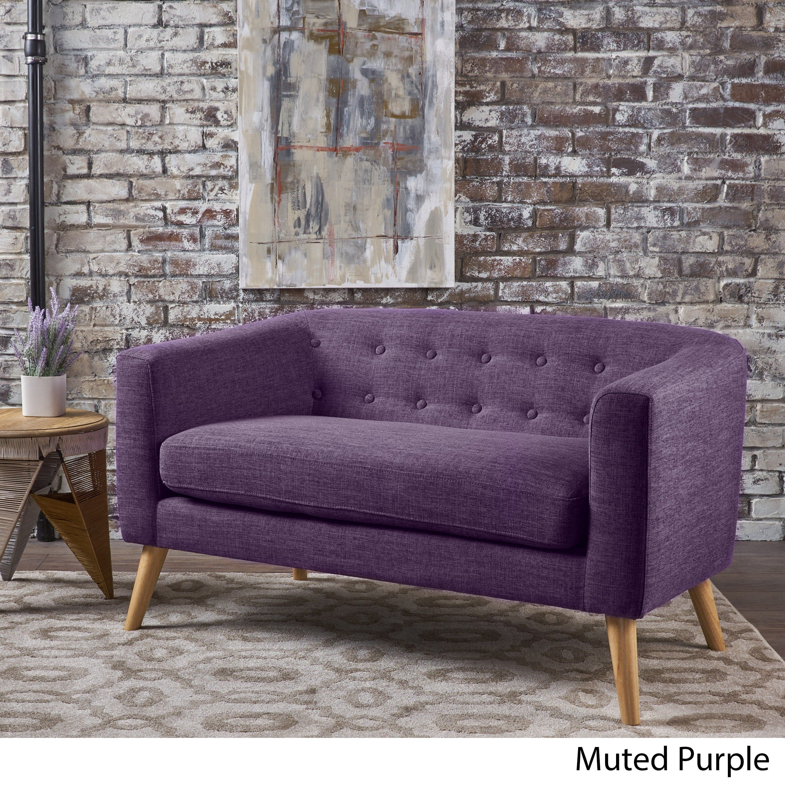 bridie mid century fabric loveseat by christopher knight home free shipping today overstockcom 23006891 - Purple Furniture