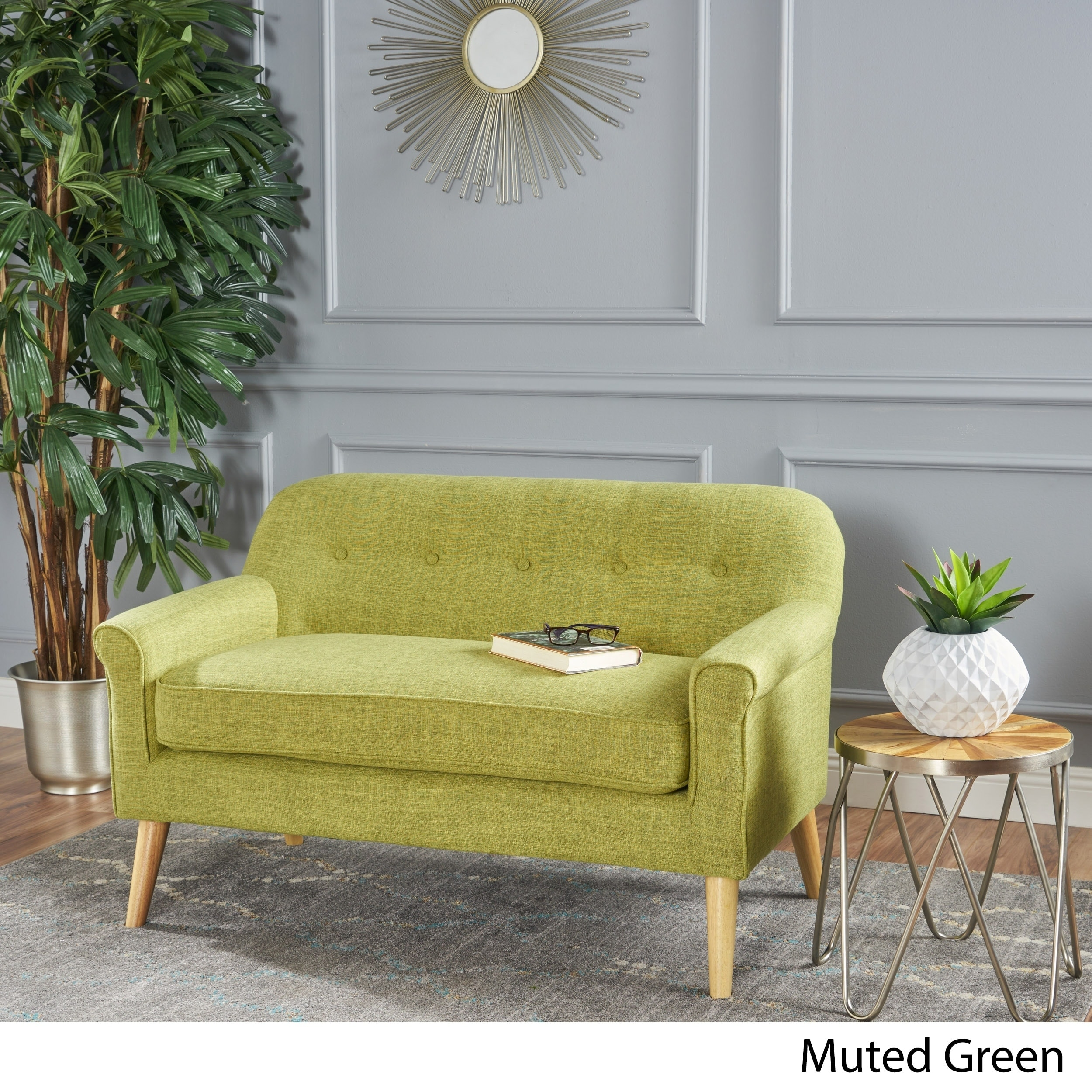 Shop Mariah Mid Century Fabric Loveseat By Christopher Knight Home