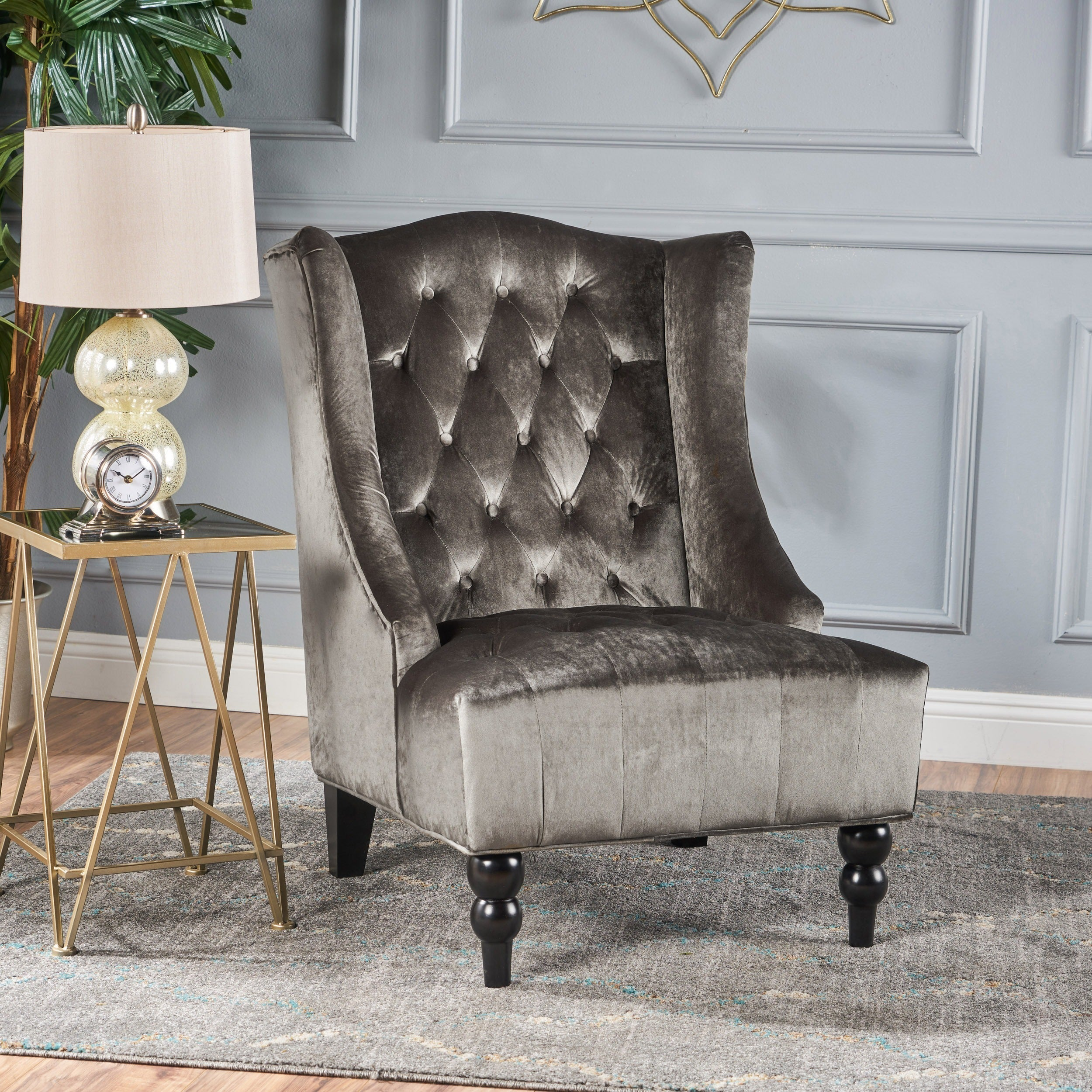 Shop Toddman High Back Velvet Club Chair By Christopher Knight Home   On  Sale   Free Shipping Today   Overstock.com   16688276