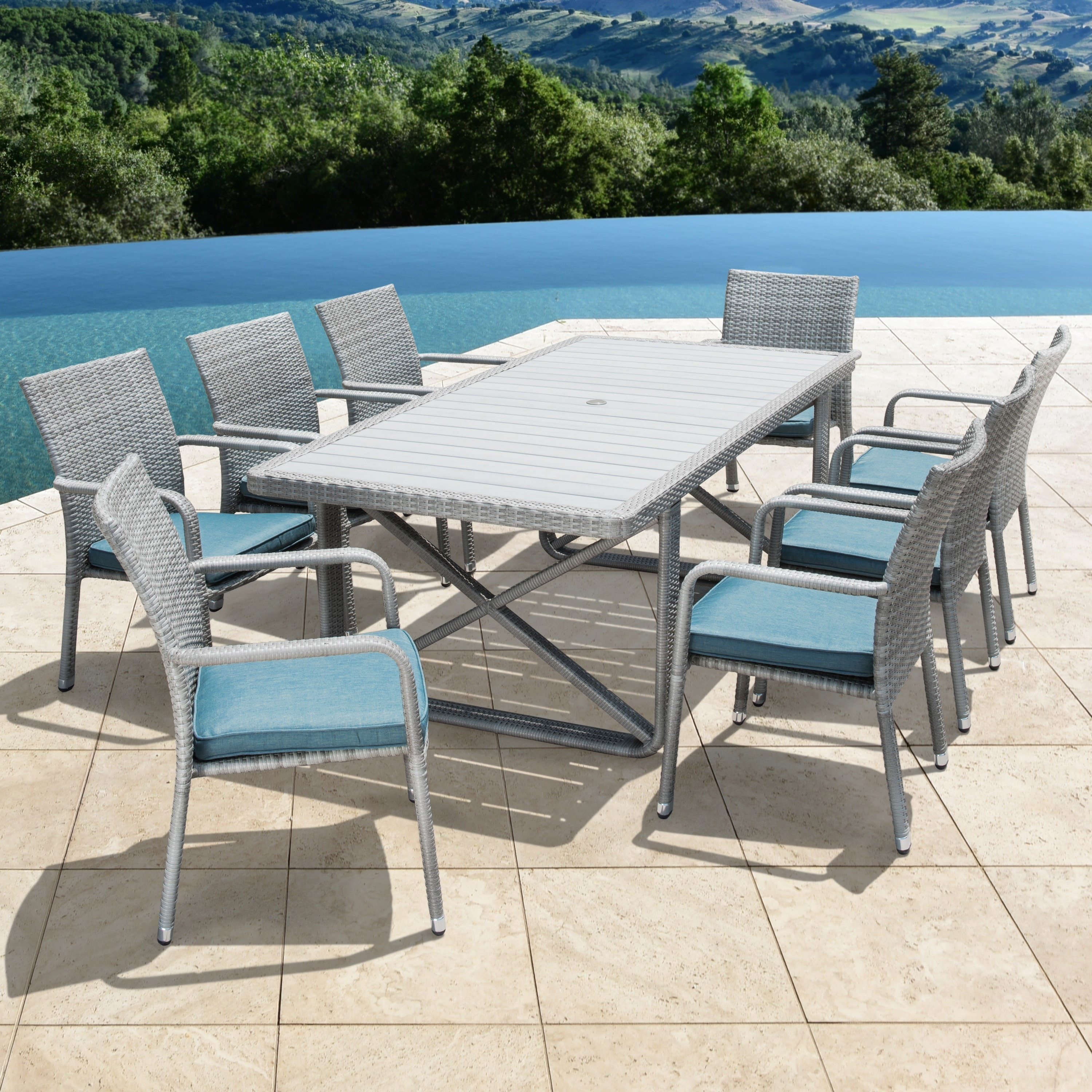 Corvus Martinka 9-piece Grey Wicker Patio Dining Set with Cushions ...