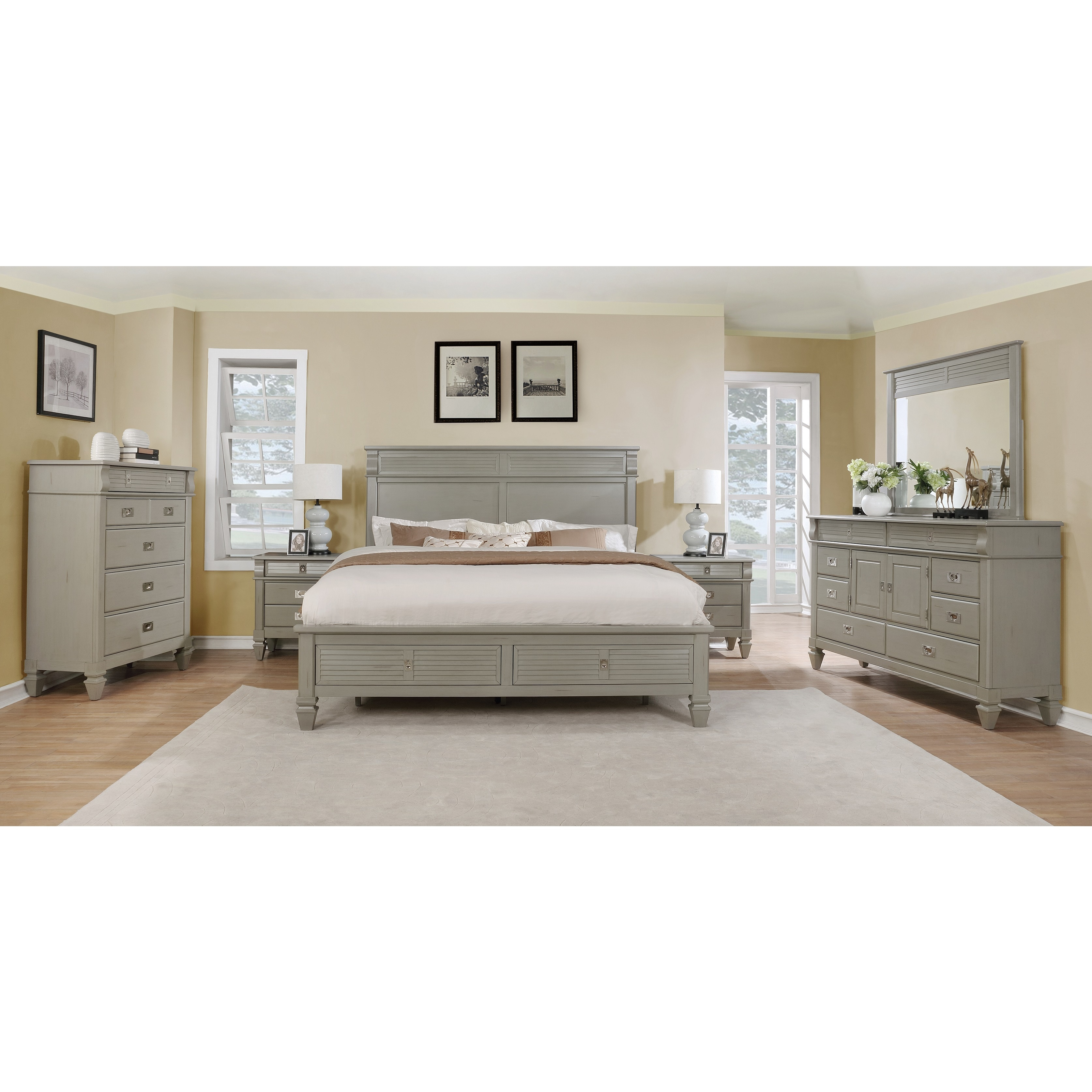 York 204 Solid Wood Construction Bedroom Set With King Size Bed Dresser Mirror Chest And 2 Night Stands Free Shipping On Orders Over 45