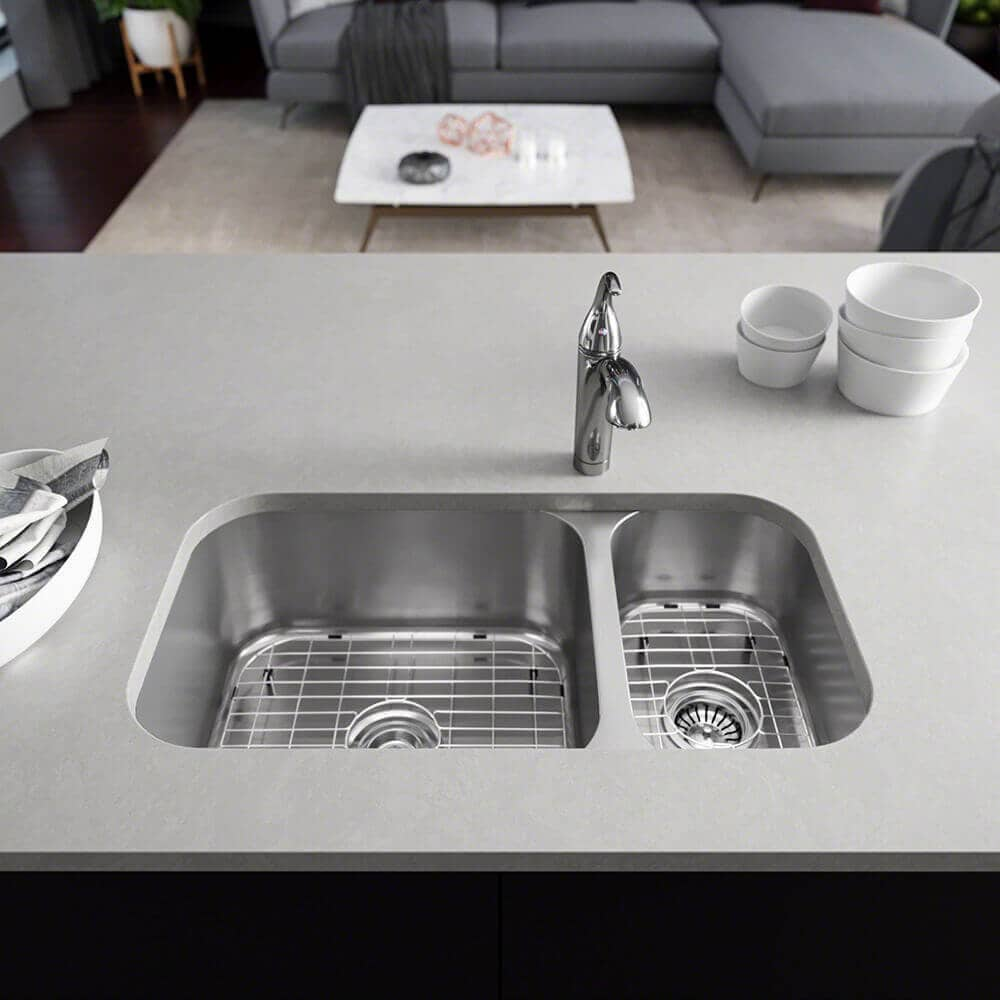 Shop R1 1024b Offset Double Bowl Stainless Steel Kitchen Sink With
