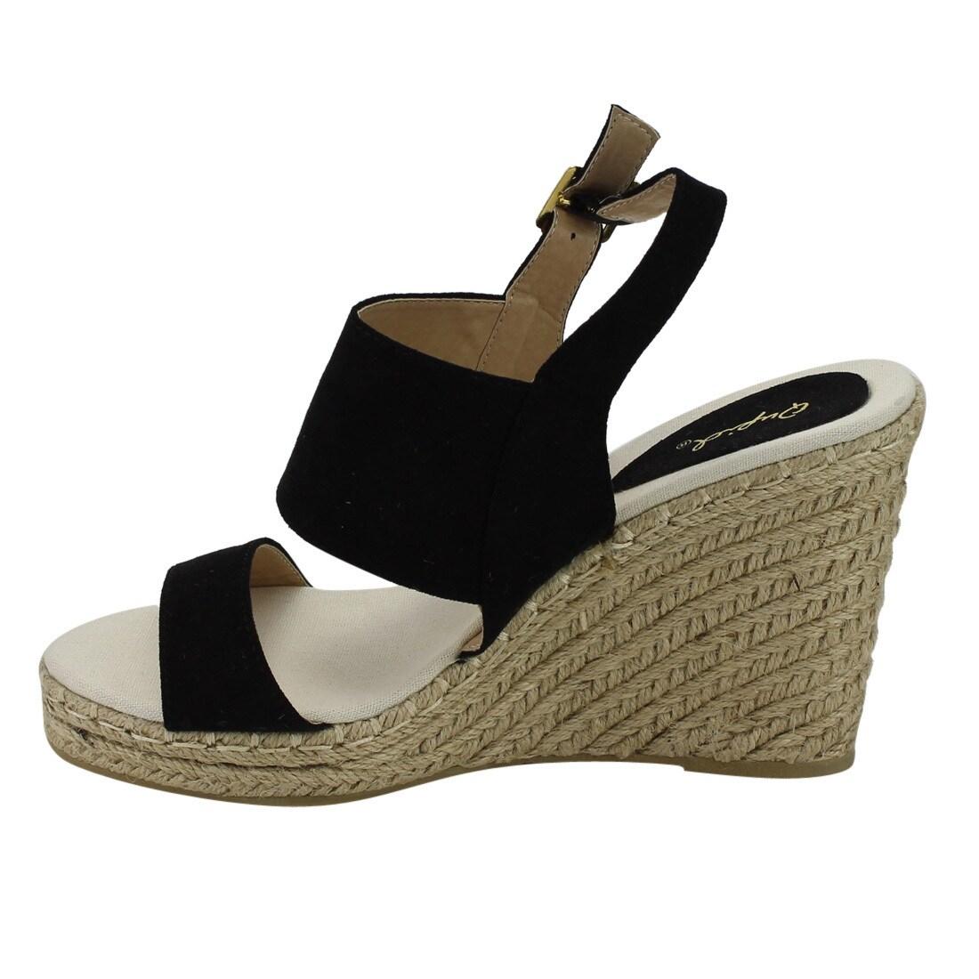 e52993a9e39 QUPID FG61 Women's Slingback Stitched Espadrille Platform Wedge Sandals