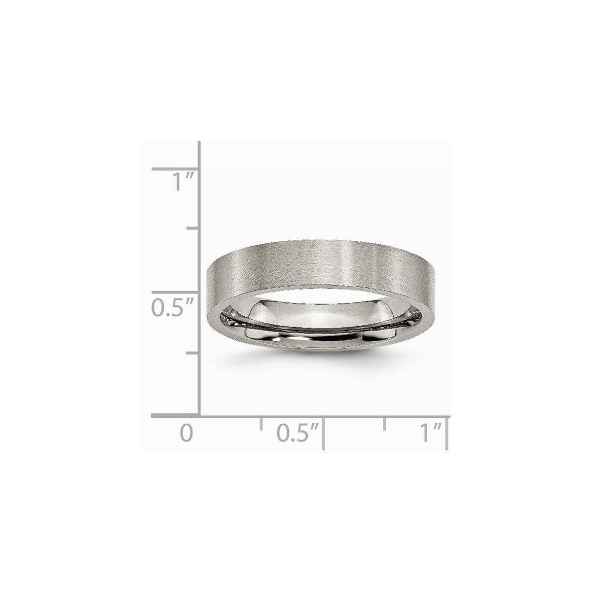 Titanium Ridged Edge 8mm Brushed Wedding Ring Band Size 7.50 Classic Flat Jewelry & Watches