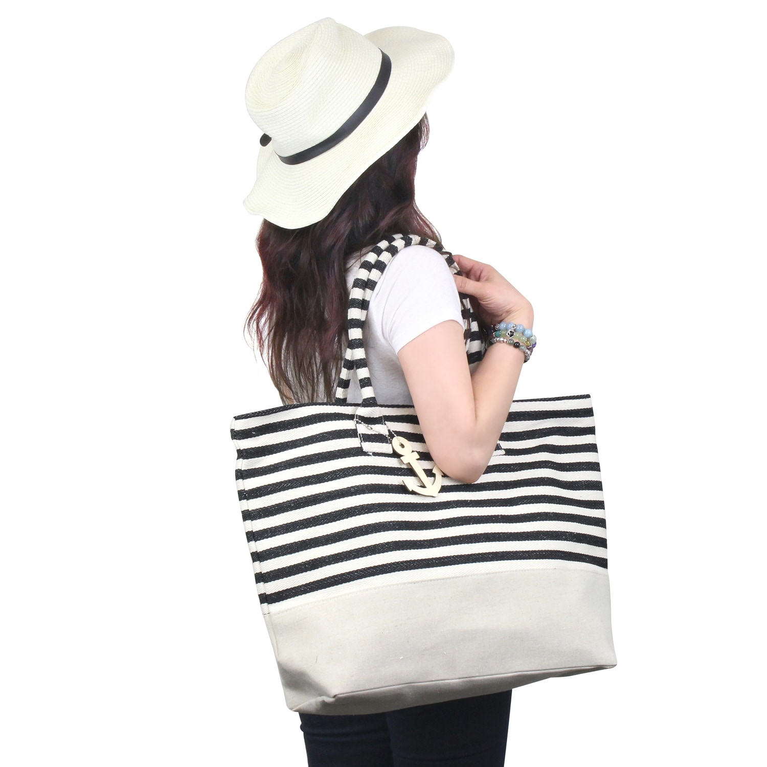 6131459b2a83 Shop Zodaca Black  White Stripes Women Handbag Ladies Large Shoulder Tote  Purse Messenger Bag - Free Shipping On Orders Over  45 - Overstock.com -  16697606