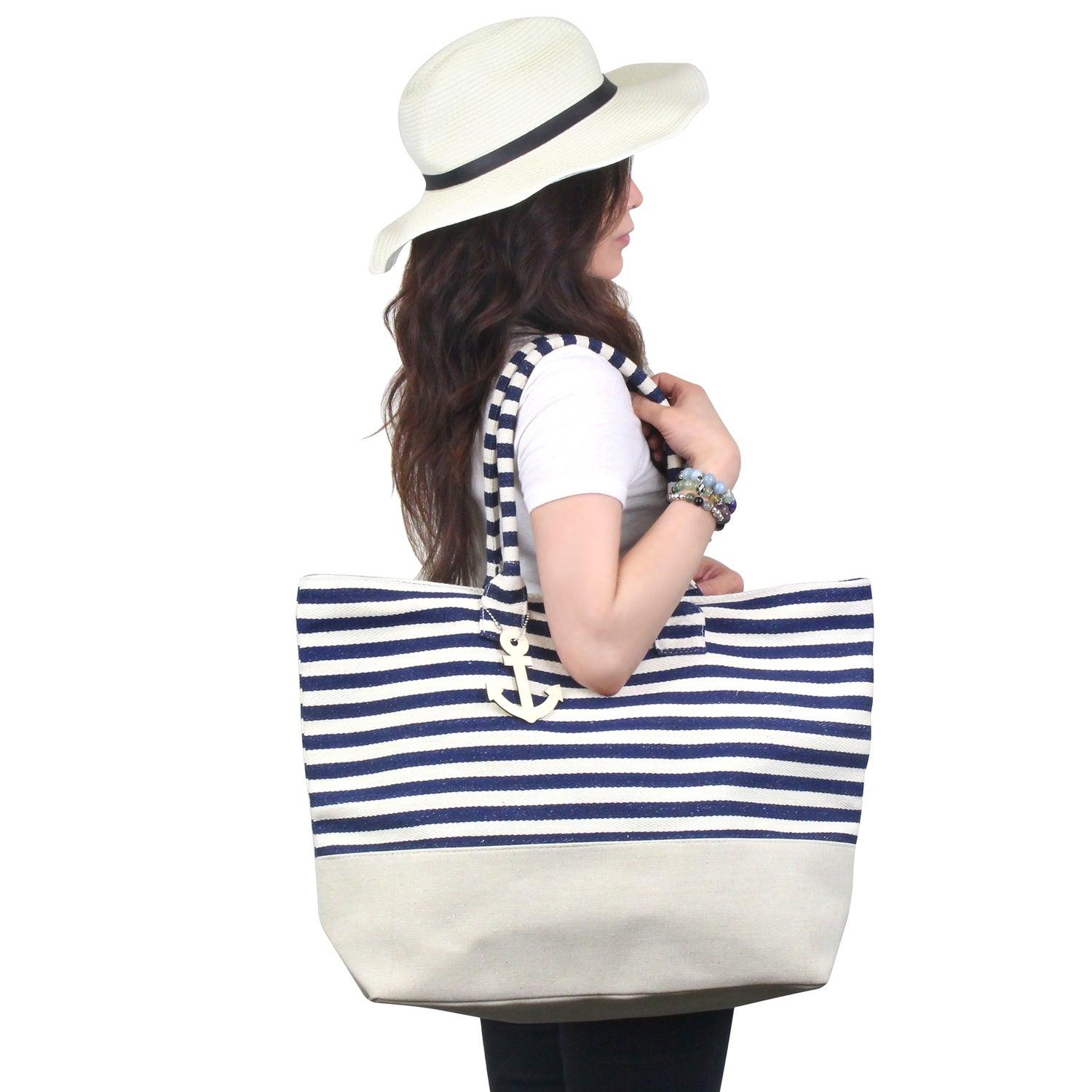 Shop Zodaca Navy  White Stripes Women Handbag Ladies Large Shoulder Tote  Purse Messenger Bag - Free Shipping On Orders Over  45 - Overstock -  16697608 9d9ba19aad746