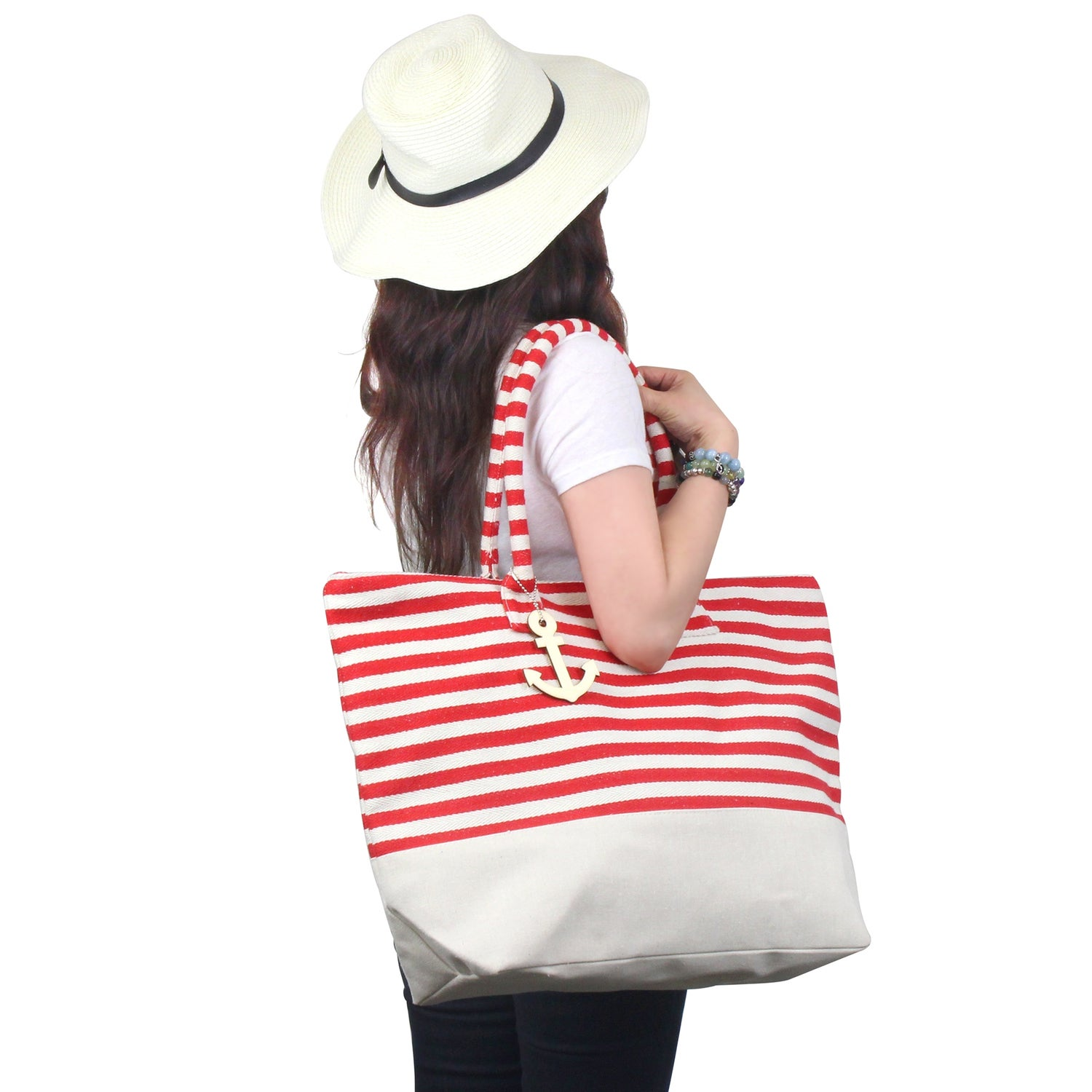a7f12274770a Shop Zodaca Red  White Stripes Women Handbag Ladies Large Shoulder Tote  Purse Messenger Bag - Free Shipping On Orders Over  45 - Overstock.com -  16697609