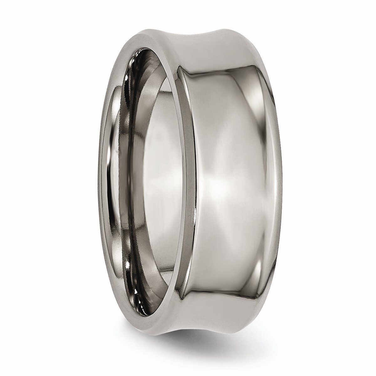 Lovely Titanium Concave 8mm Beveled Edge Wedding Ring Band Size 9.50 Classic Fashion Jewelry & Watches
