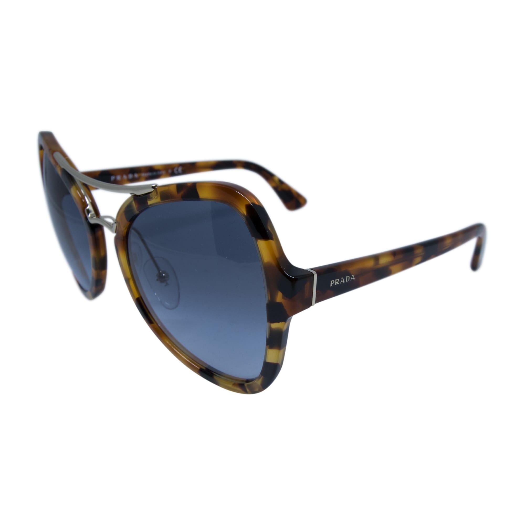 bb5e6945724d ... new arrivals shop prada spr 18s uf3 4r2 womens spotted havana blue  frame blue lens sunglasses
