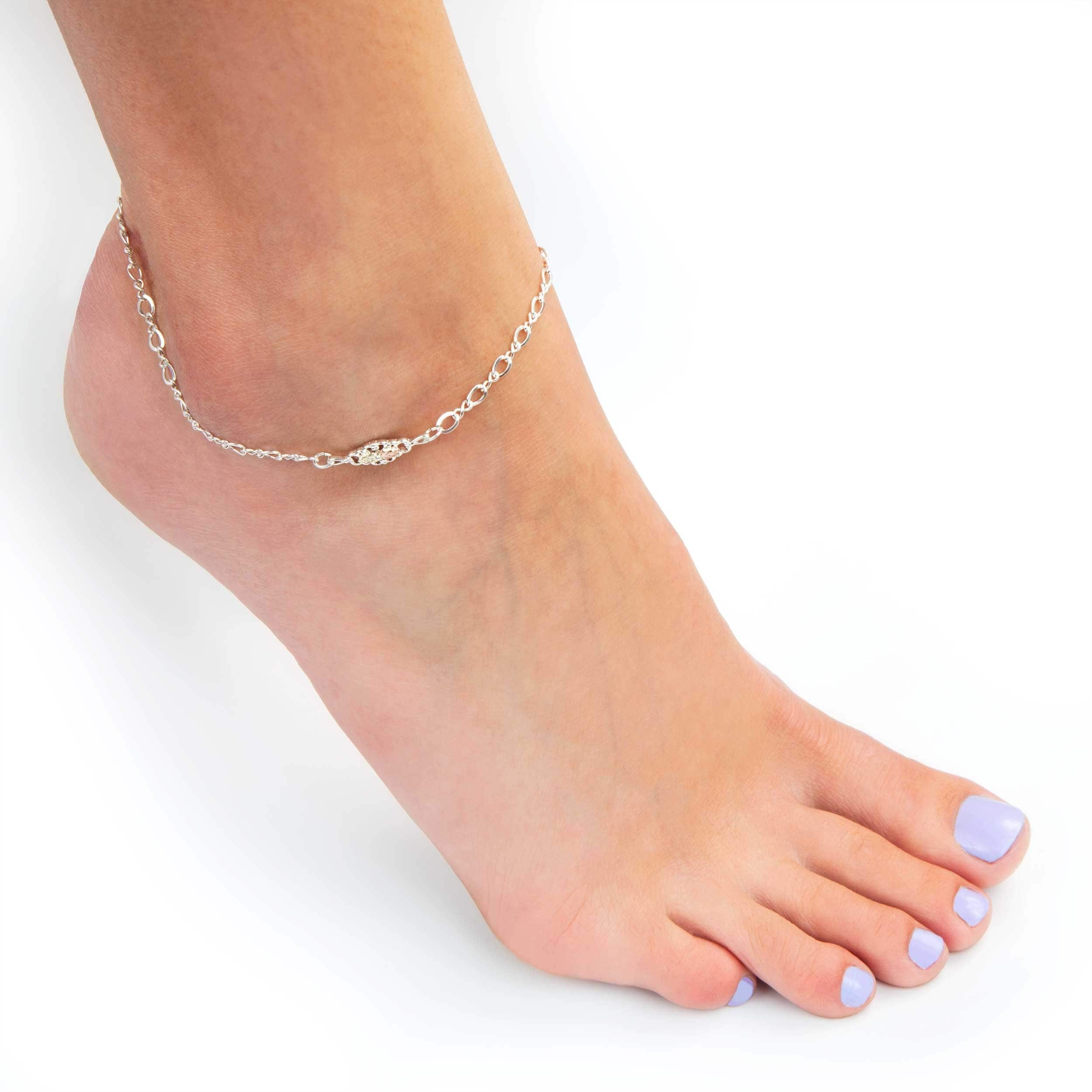 heart tcw viomart womens over wings in and sterling gold bracelet anklet com silver ankle diamond at