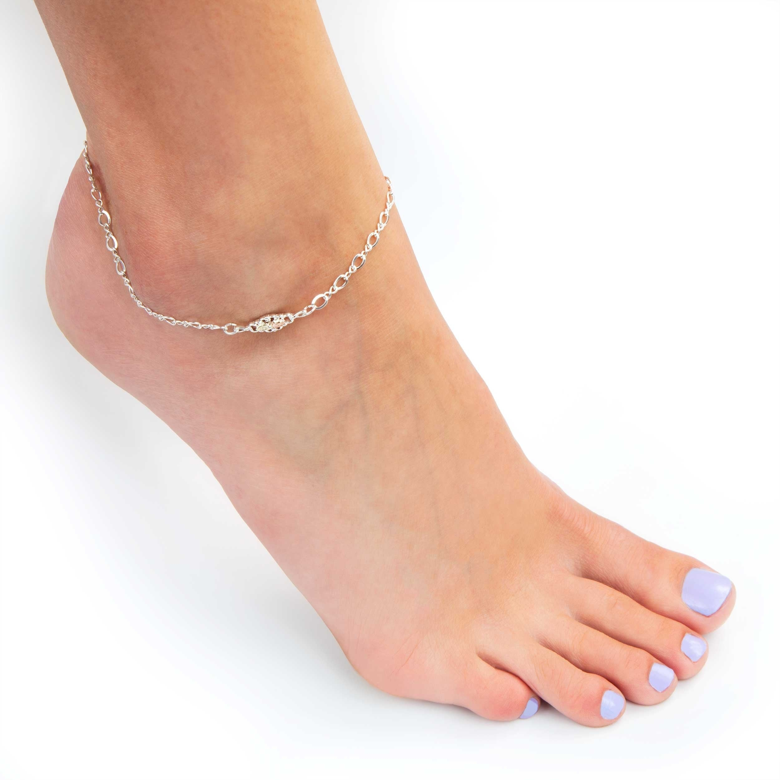zirconia made bracelet tennis anklet cubic crystals single sterling ankle index plated with row silver