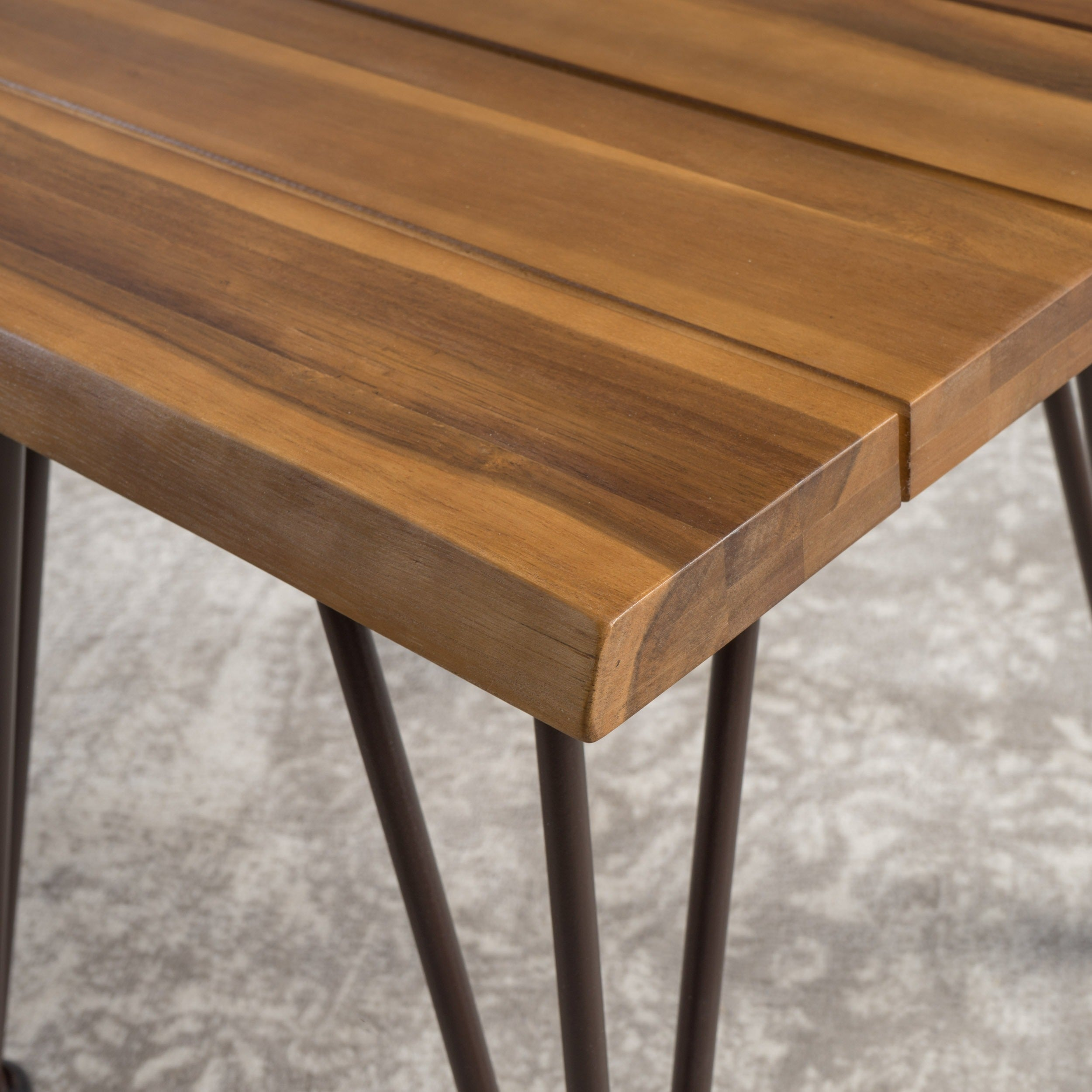 Shop geania acacia wood industrial side table by christopher knight home on sale free shipping today overstock com 16718561
