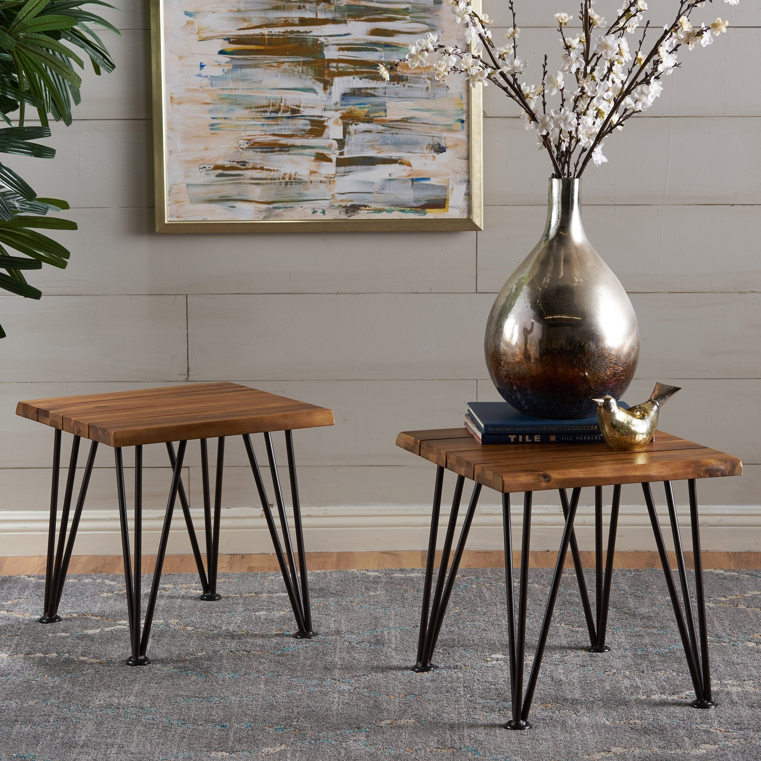 Shop Zion Outdoor Acacia Wood Industrial Side Table (Set Of 2) By  Christopher Knight Home   Free Shipping Today   Overstock.com   16718563