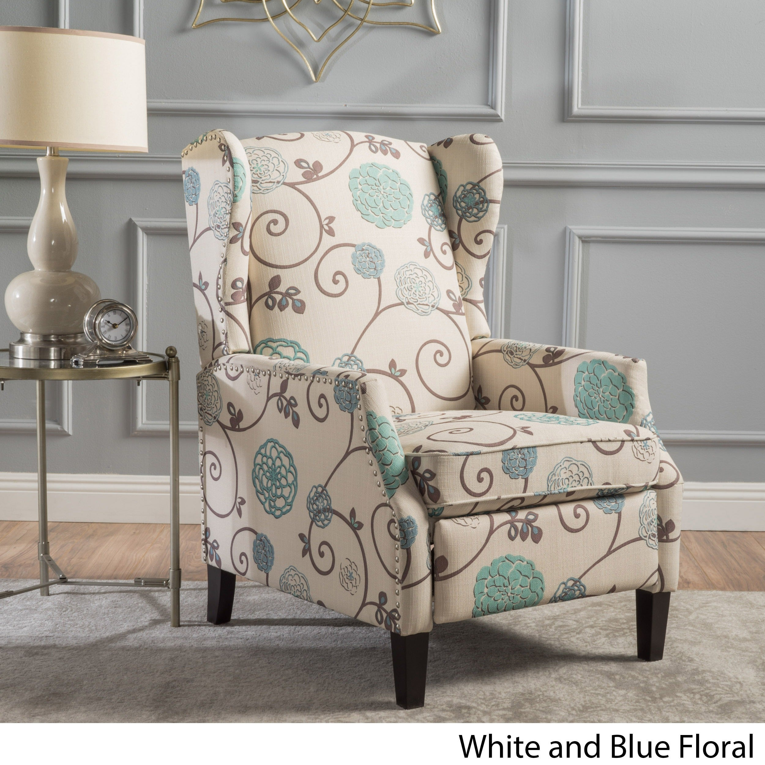Shop wescott wingback floral fabric recliner club chair by christopher knight home on sale free shipping today overstock 16718594
