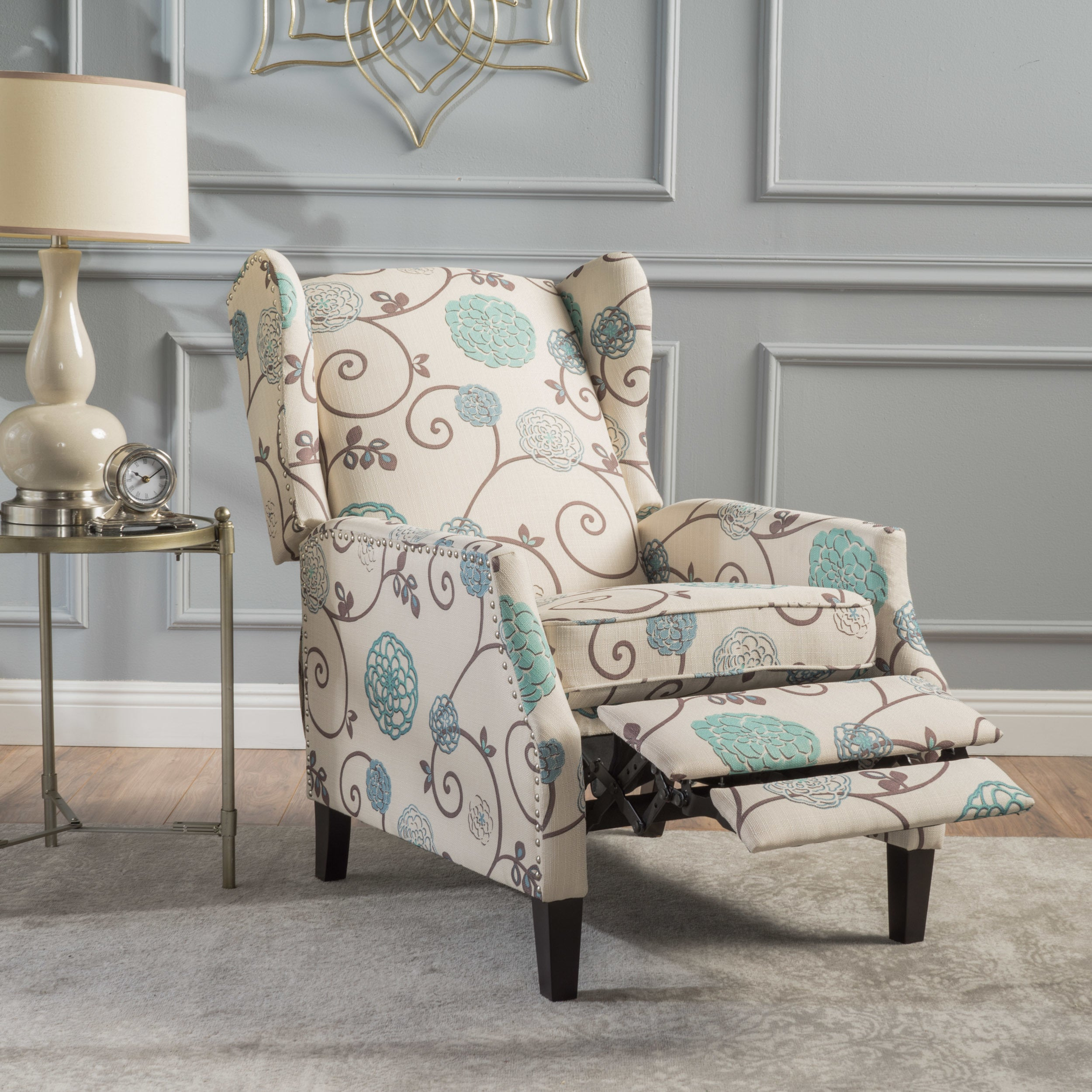 Wescott wingback floral fabric recliner club chair by christopher knight home