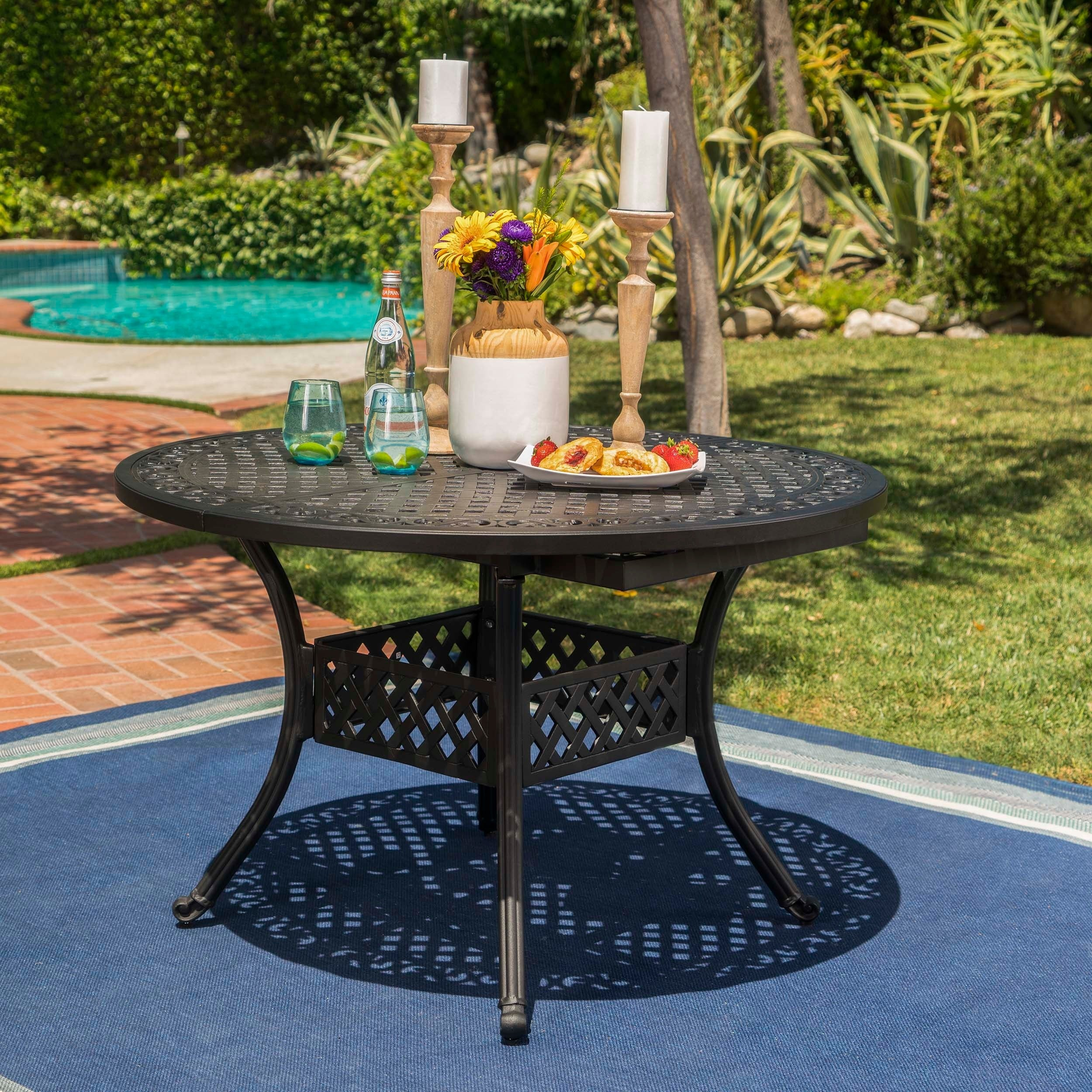 dining charcoal garden floral outdoor com piece tables styles blossom oval table patio amazon home dp