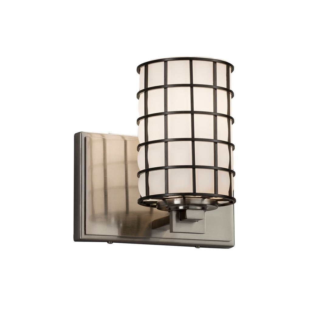 Shop Justice Design Group Wire Glass Era 1 Light Brushed Nickel Wall Hard Wiring Sconces Sconce Grid With Opal Cylinder Flat Rim Shade Free Shipping Today