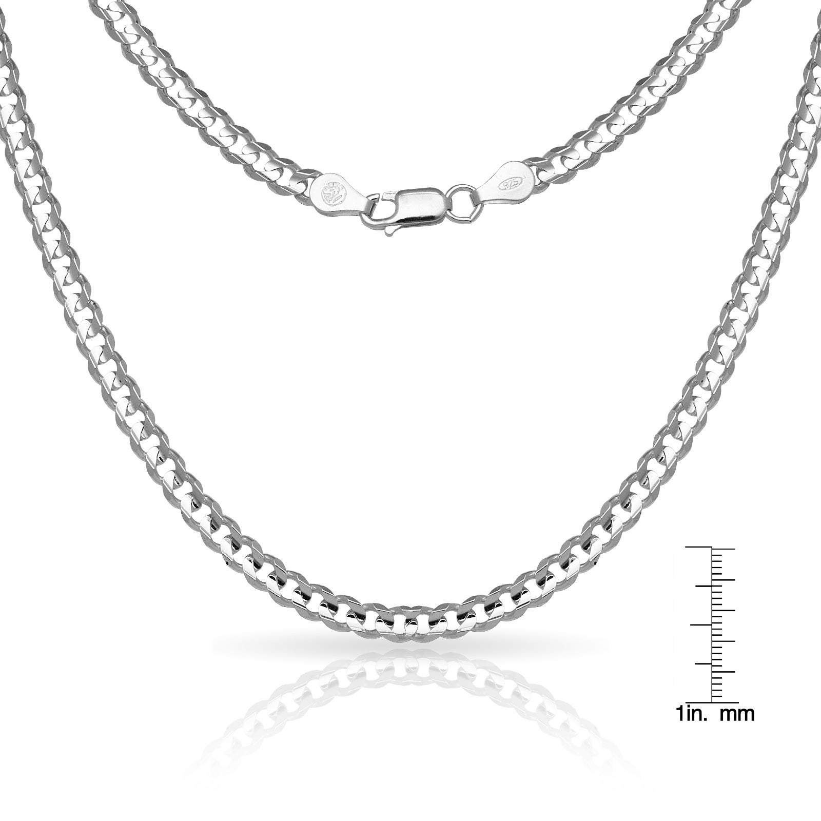 5e4a21a8c8a60 Sterling Silver Men's Italian 6mm Concave Curb Chain Necklace (18