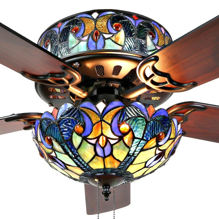 Shop river of goods halston blue stained glass tiffany style ceiling shop river of goods halston blue stained glass tiffany style ceiling fan mahogany free shipping today overstock 16739311 mozeypictures Gallery
