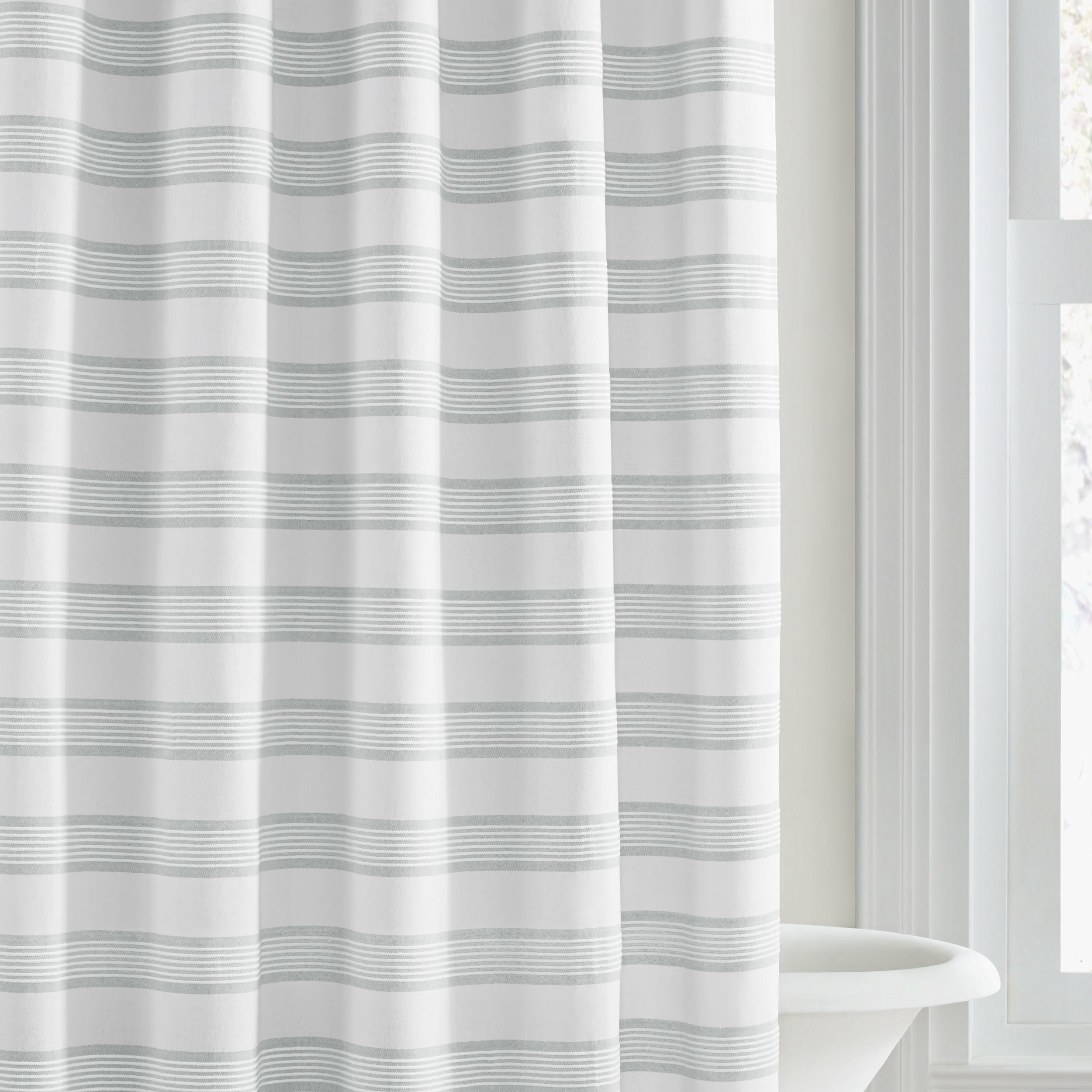 bath stripe white vera shipping curtains overstock product today curtain shower wang linear free bedding