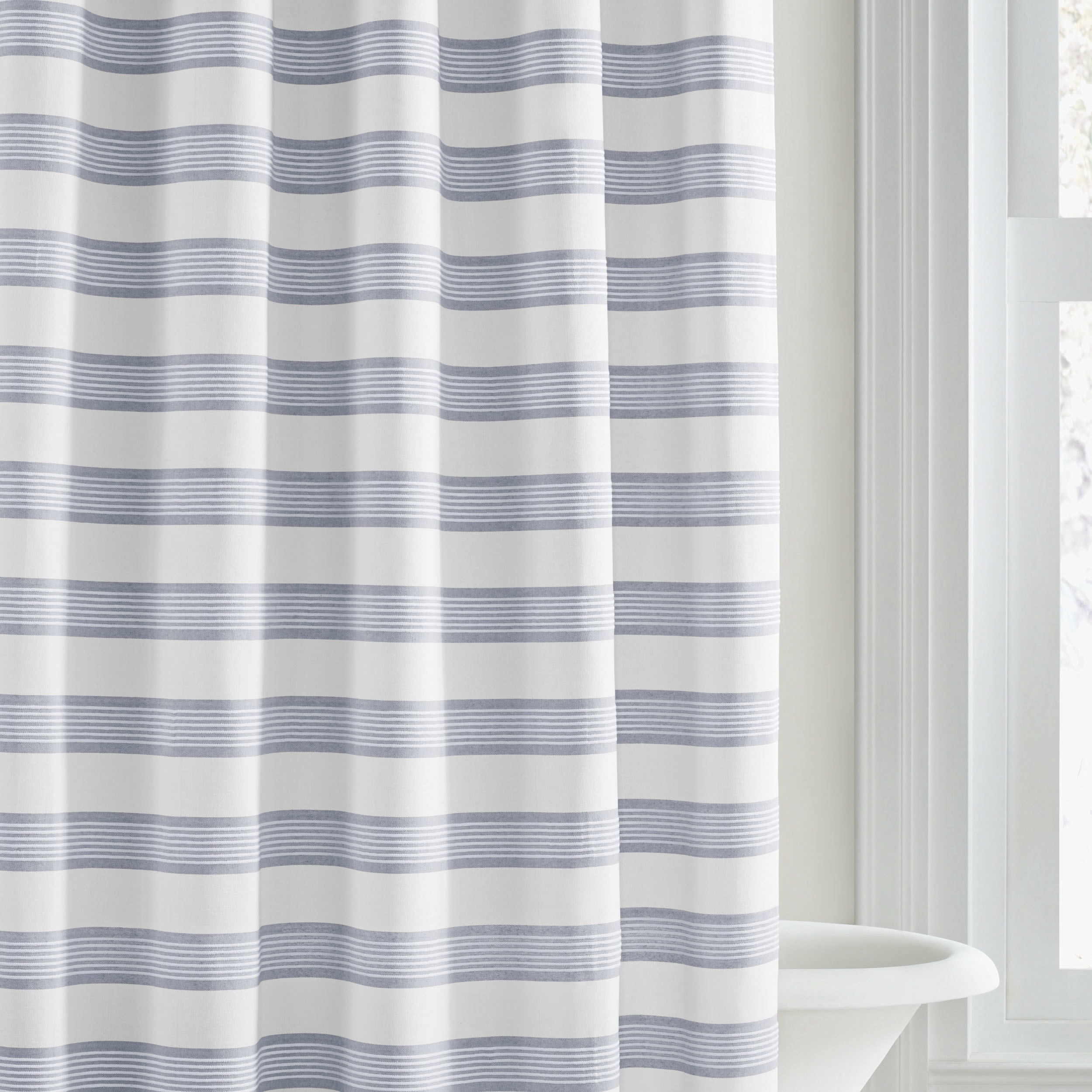 curtain overstock stripe on wang orders over shipping linear pattern free bedding vera blue bath product shower