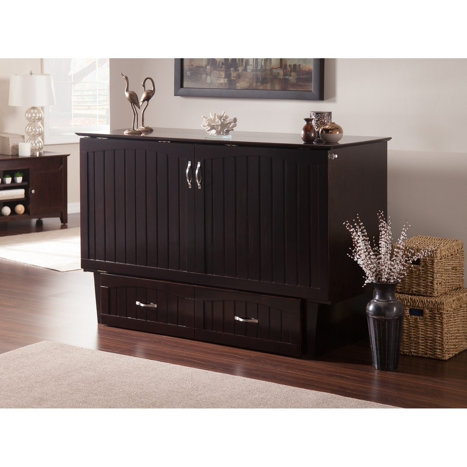 Murphy Bed.Nantucket Murphy Bed Chest Queen In Espresso With Charging Station Coolsoft Mattress