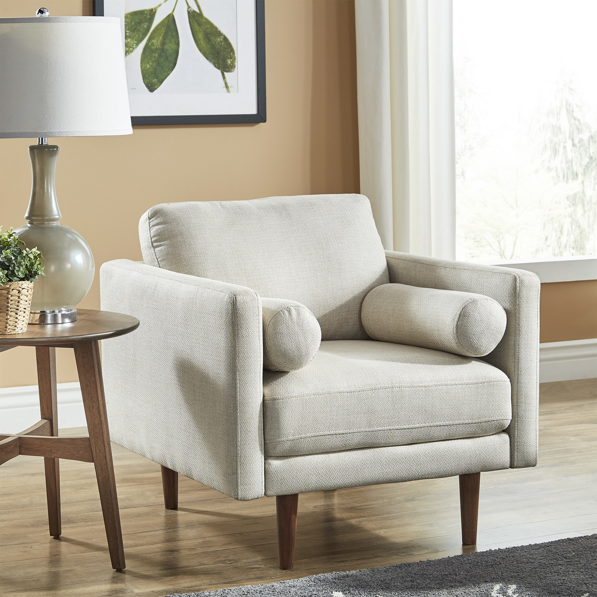 Oana Oatmeal Mid Century Tapered Leg Chair with