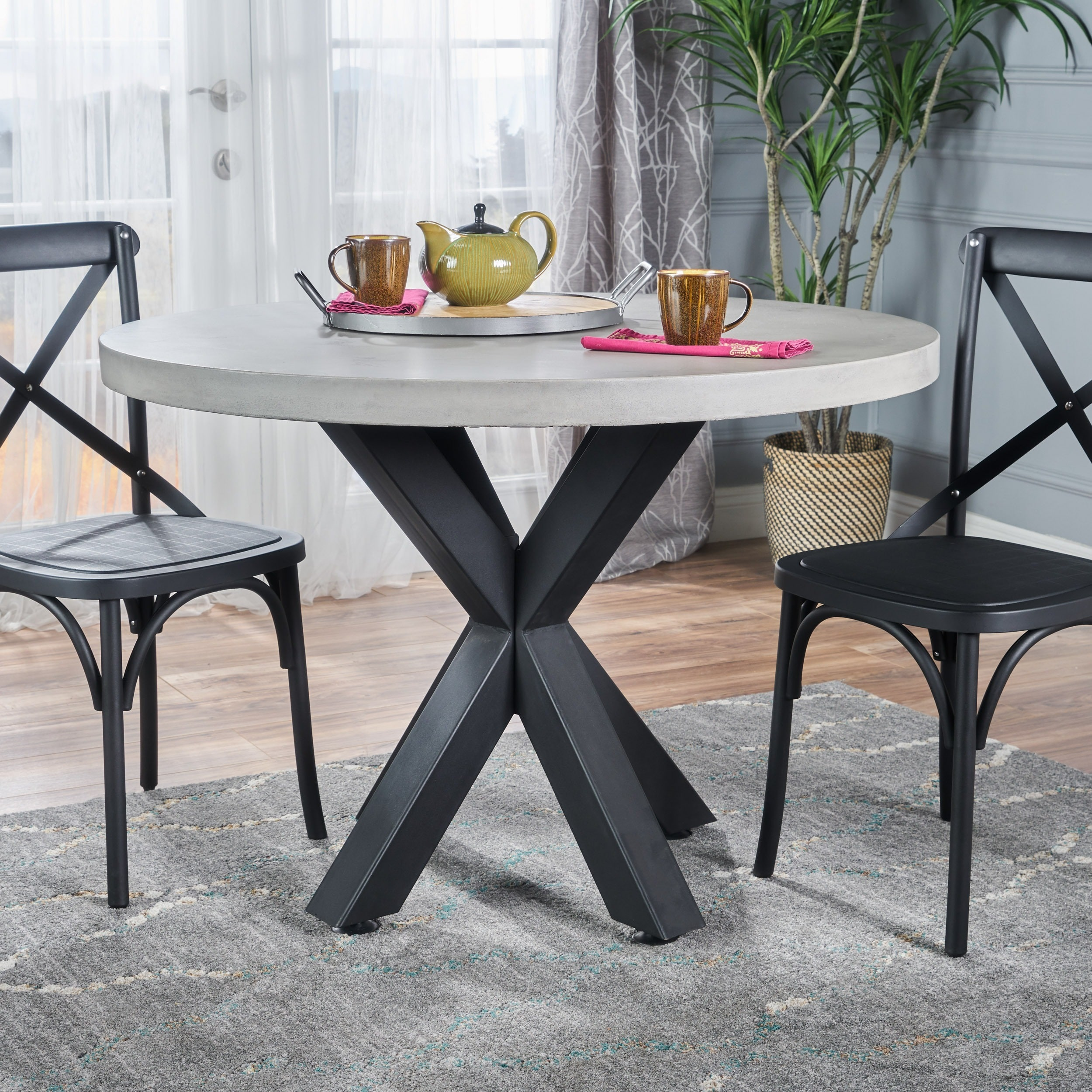 Teague round light weight concrete dining table by christopher teague round light weight concrete dining table by christopher knight home off white free shipping today overstock 23054839 watchthetrailerfo