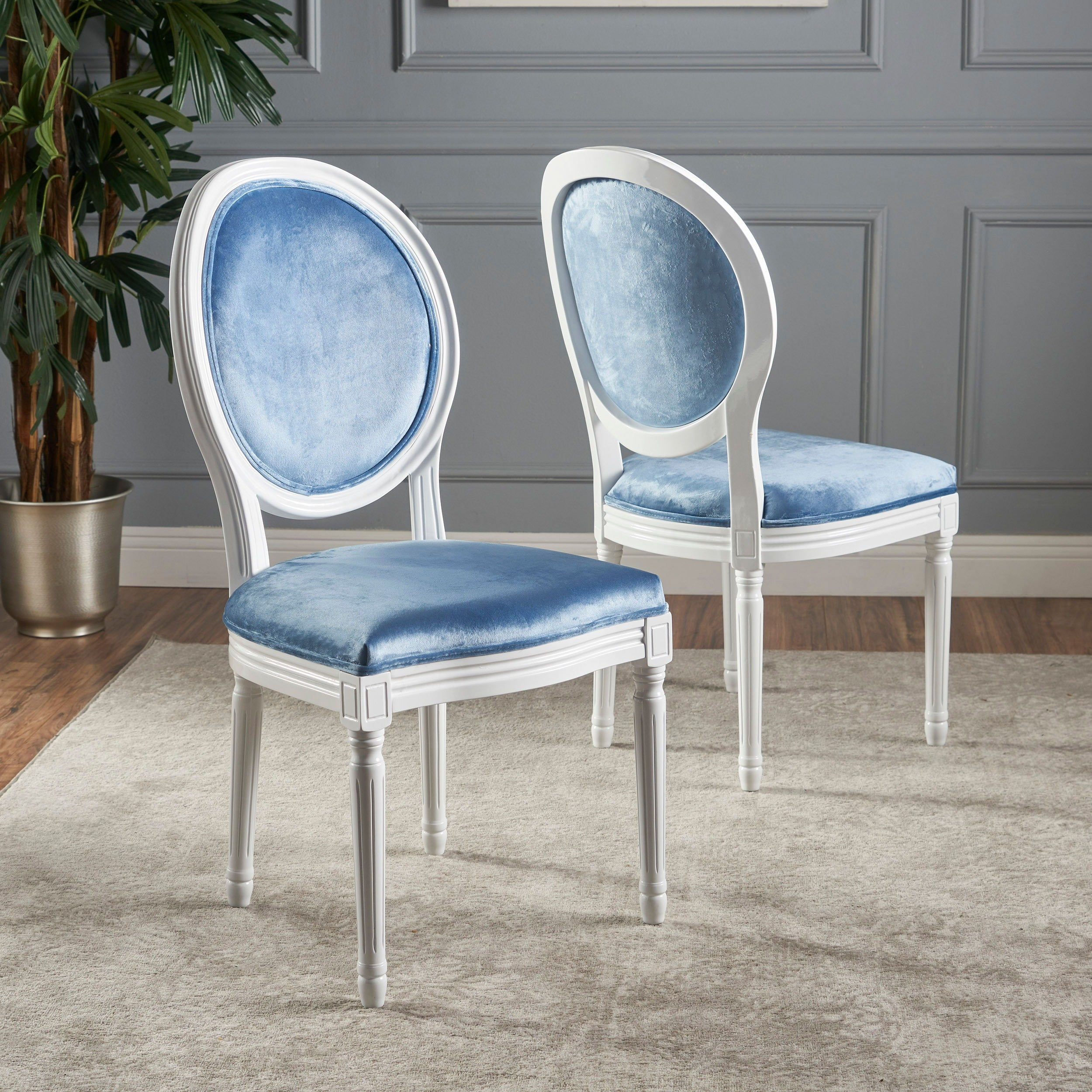 Camille Velvet Fabric Dining Chair (Set of 2) by Christopher Knight ...