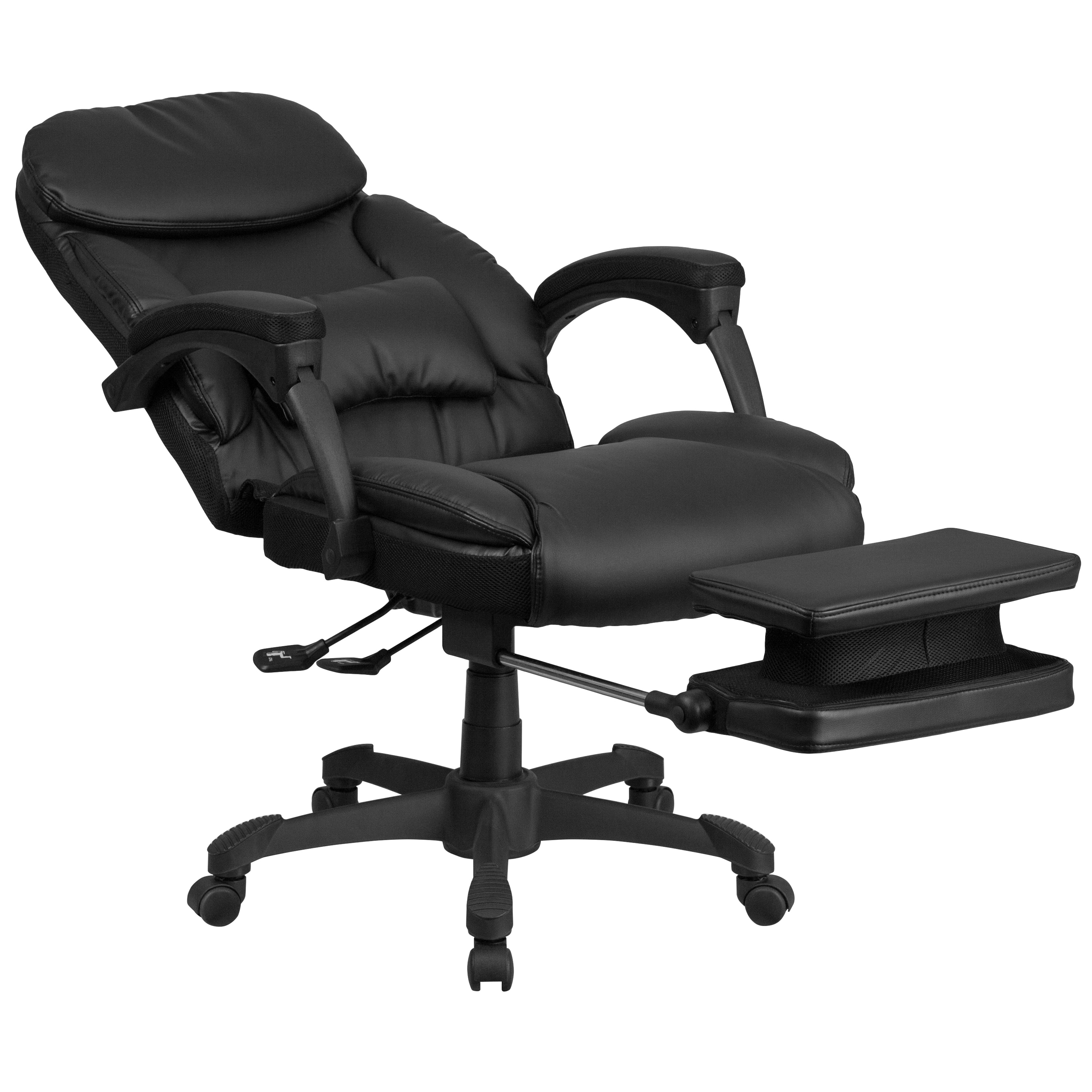 Multifunction Black Leather High Back Executive Reclining Swivel Office  Chair