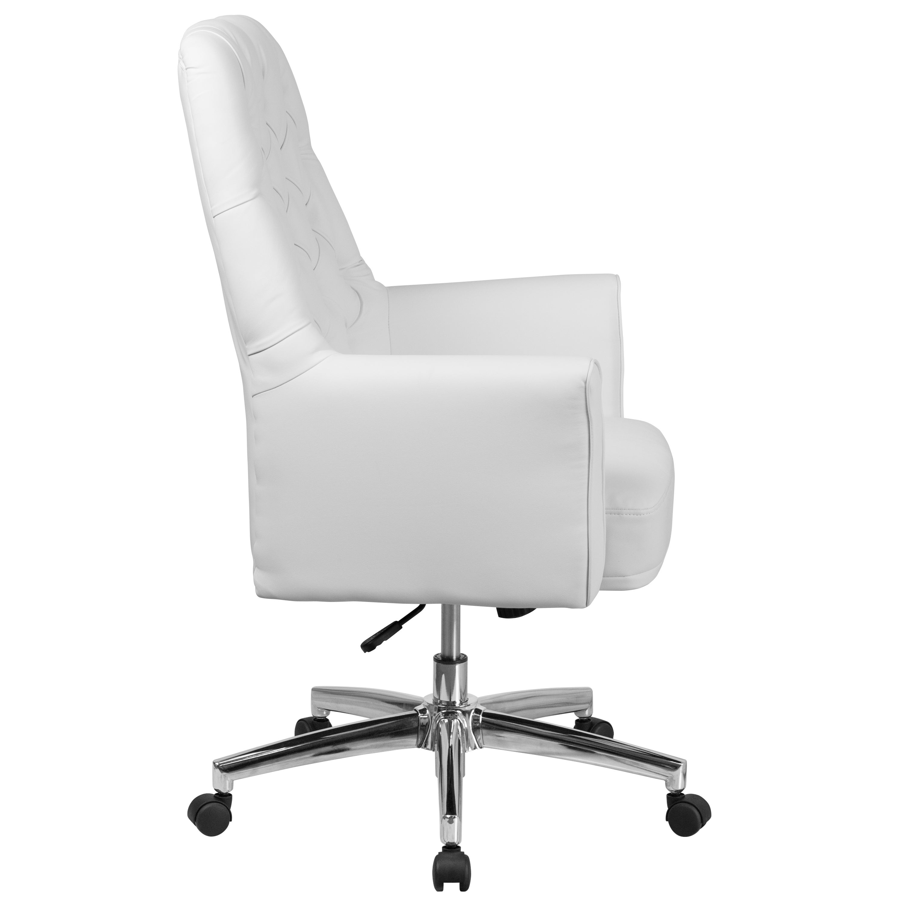 Merveilleux Shop White Leather Button Tufted Multifunction Executive Swivel Office Chair    Free Shipping Today   Overstock.com   16746539