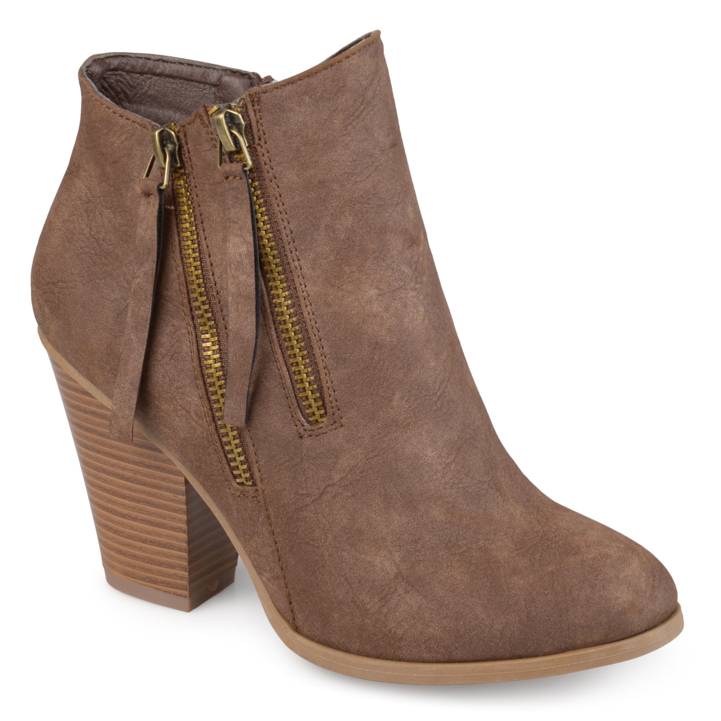 496be48394c54a Journee Collection Women's 'Vally' Double Zipper Stacked Wood Heel Booties