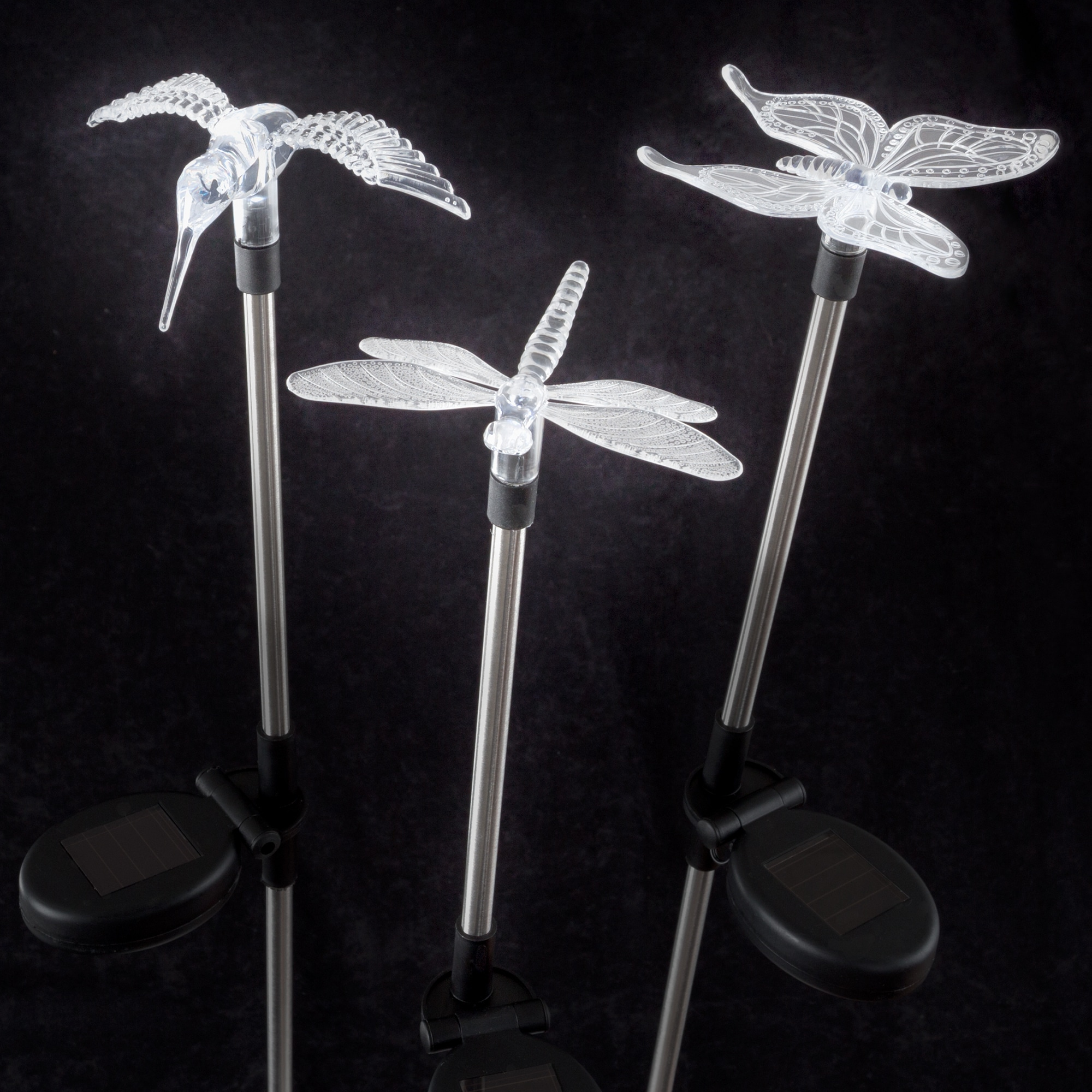 Yard Décor Solar Outdoor 3pc Led Stake Erfly Hummingbird Dragonfly Light Battery Operated Ornament By Pure Garden
