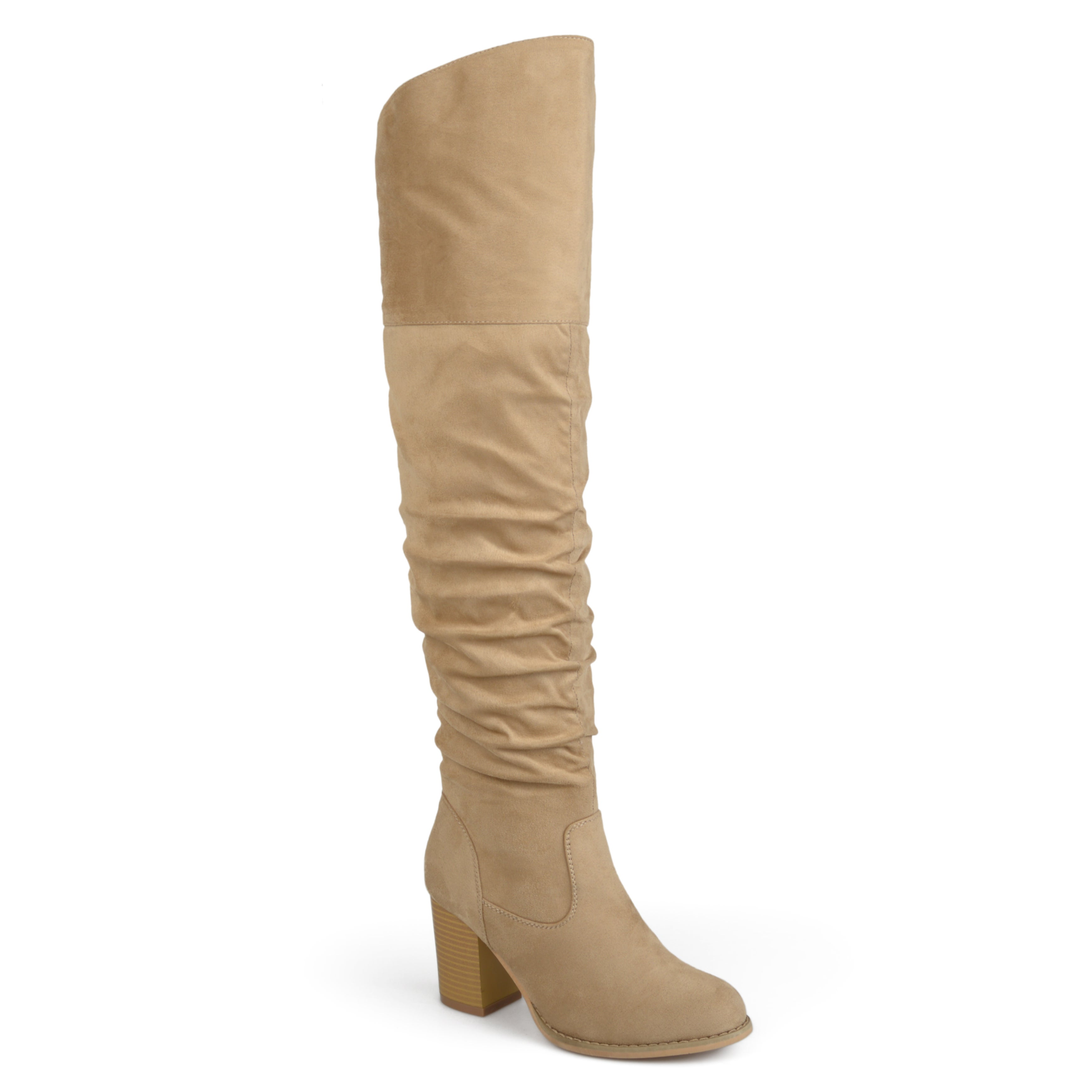 49e603753bc2 Journee Collection Women s  Kaison  Regular Wide Calf and Extra Wide Calf  Over-the-knee Ruched Stacked Heel Boots