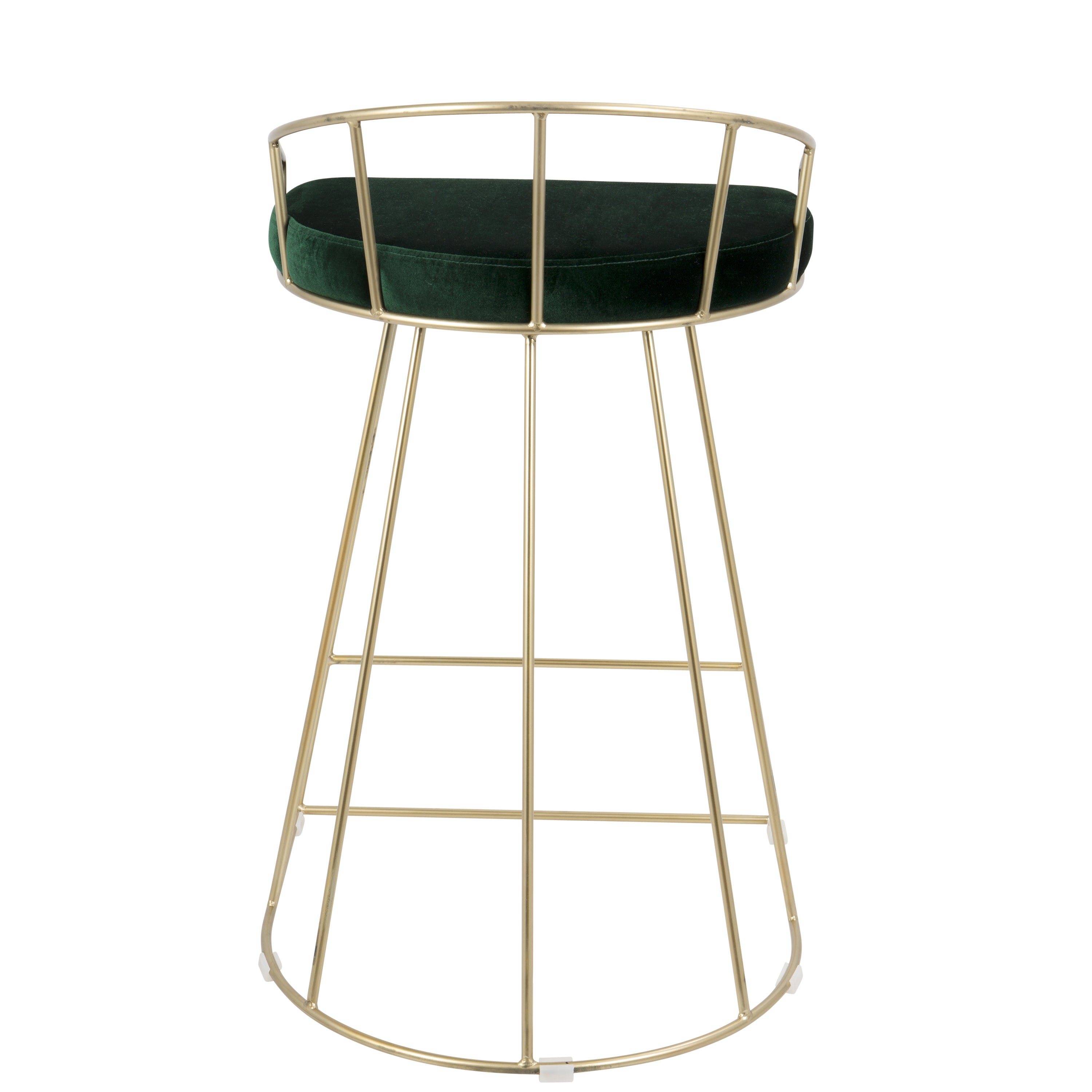 Canary Contemporary Counter Stool In Gold And Velvet (Set Of