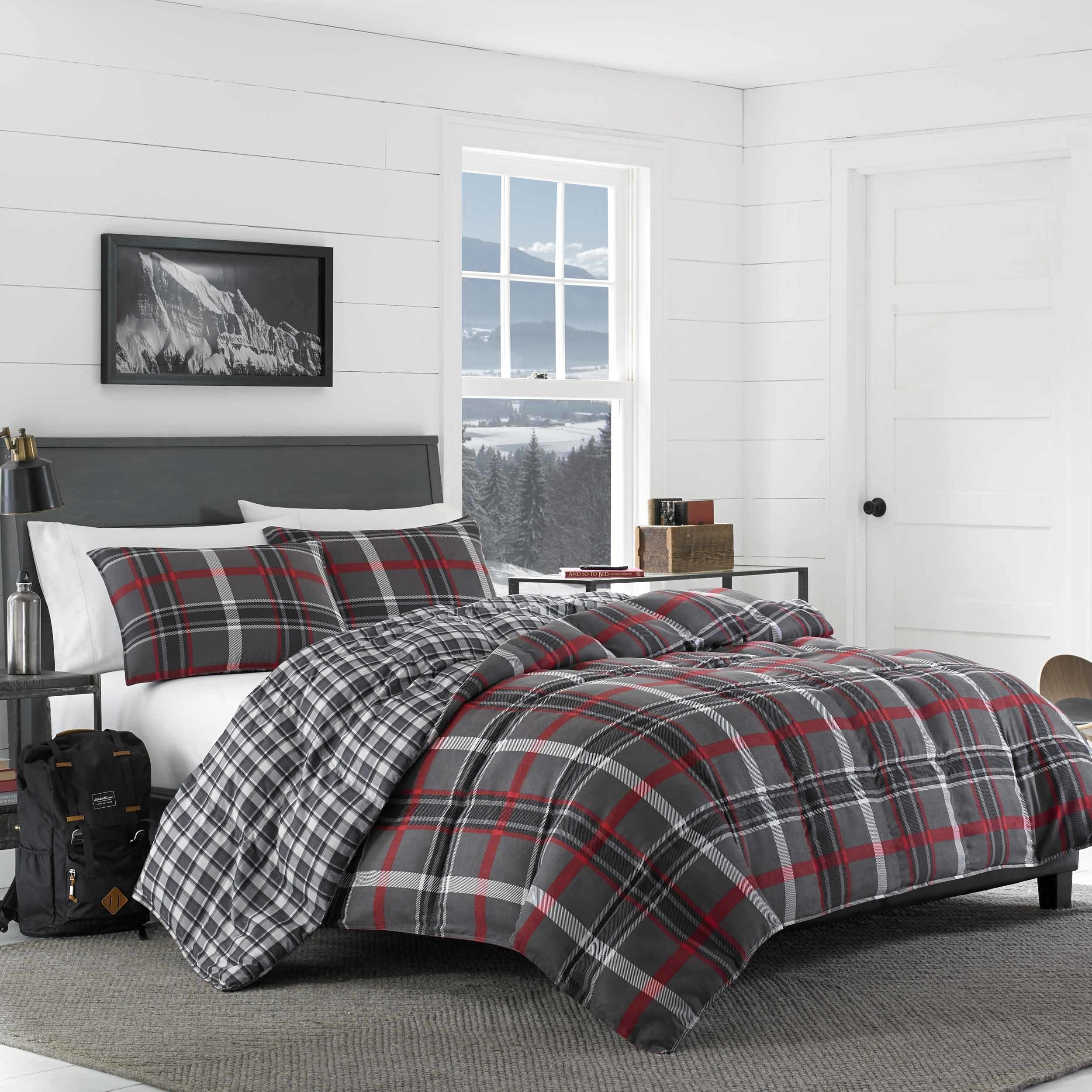 experiment go plaid shams greige thread comforter