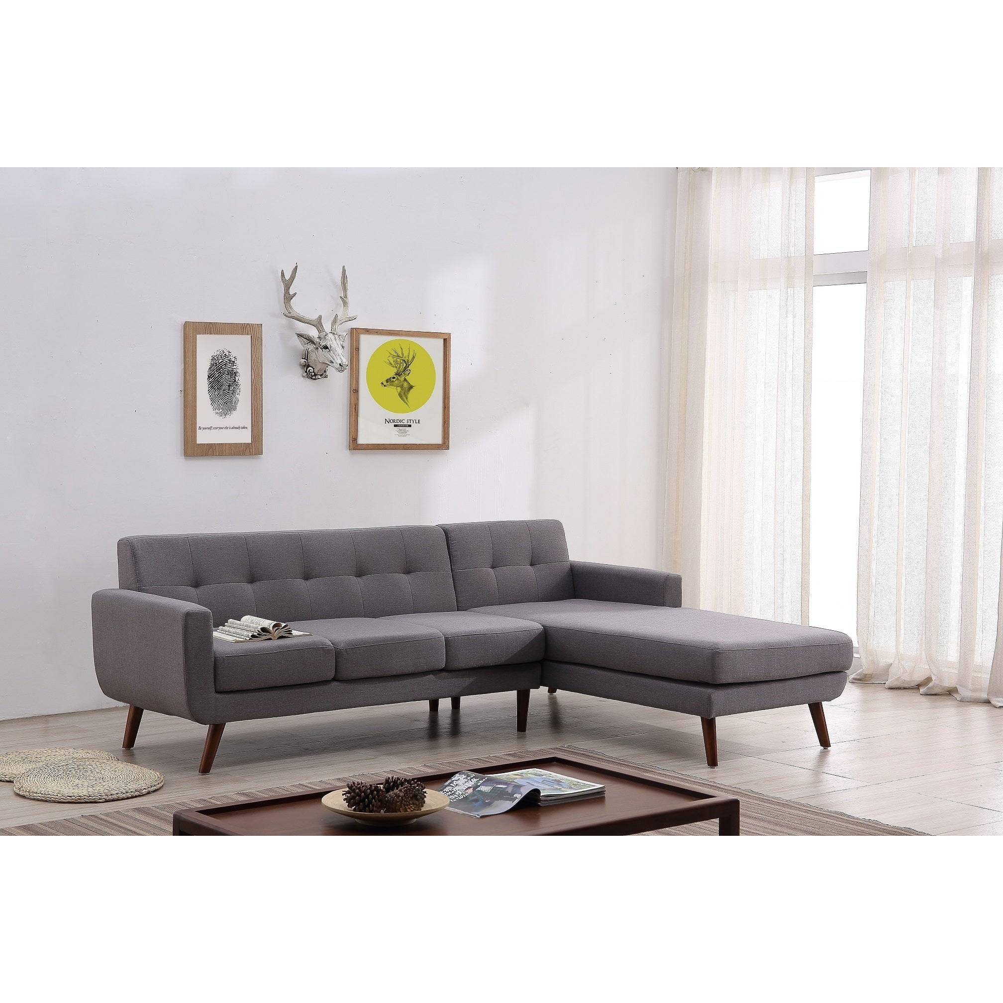 Mid Century Right Facing Tufted Linen Fabric Upholstered Sectional Sofa    Free Shipping Today   Overstock   23073440