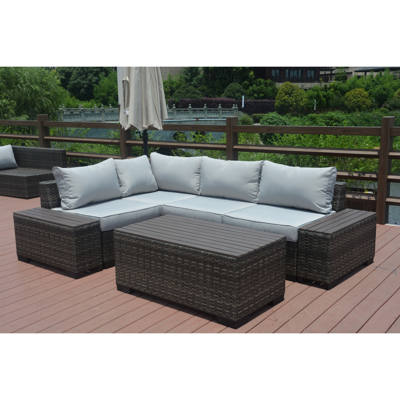 Shop Marlin Outdoor 7 Piece Grey Wicker Sectional Patio Furniture