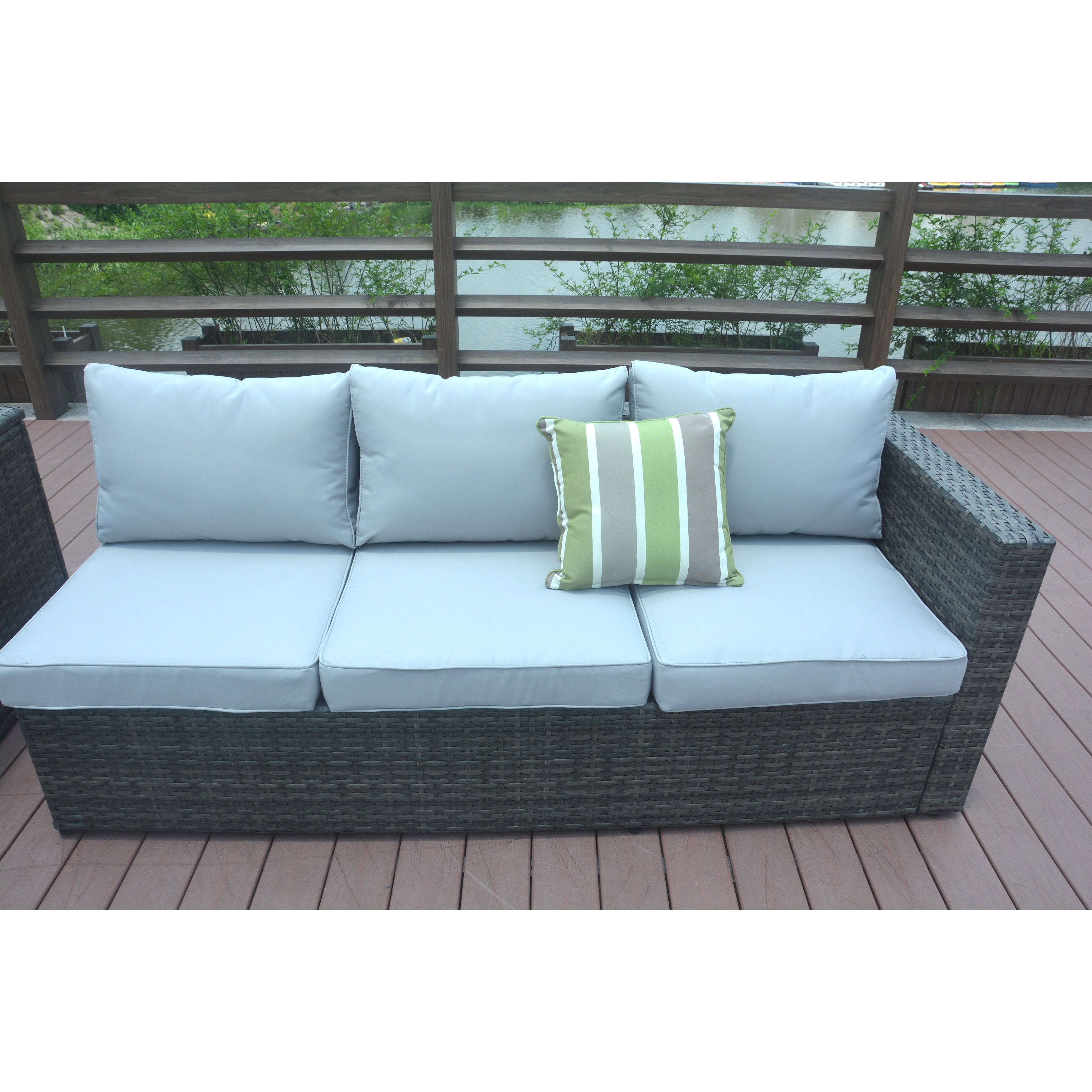Jasmine 4 Piece Grey Wicker Patio Furniture Set With Cushion Box By Direct Free Shipping Today 23073478
